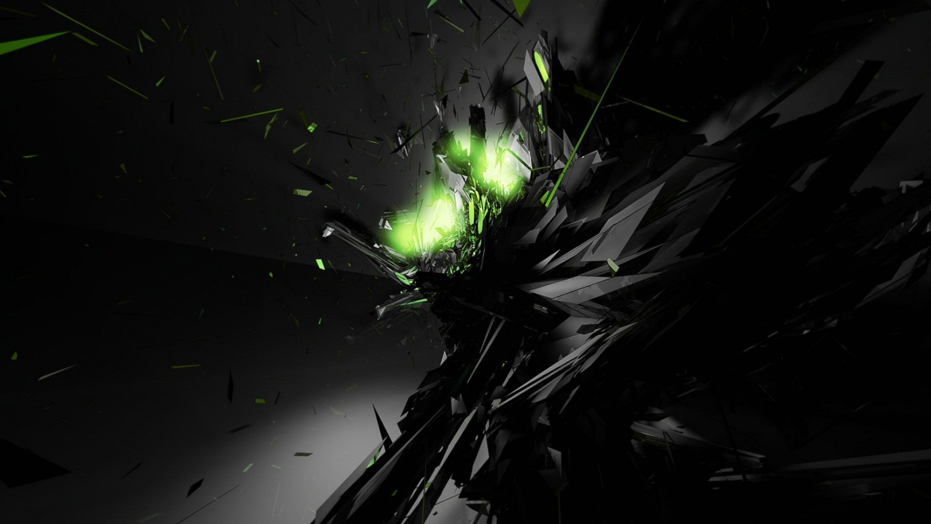 Res: 1920x1080, Black Abstract Green Glow Desktop Wallpaper
