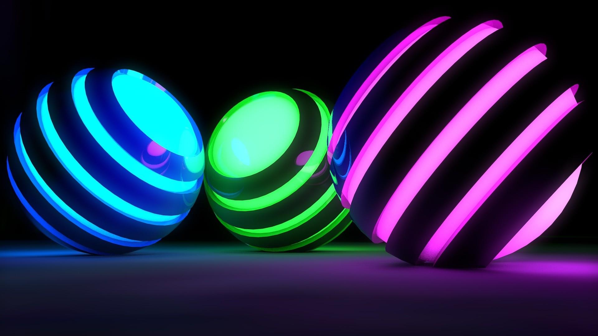 Res: 1920x1080, balls, bands, glow