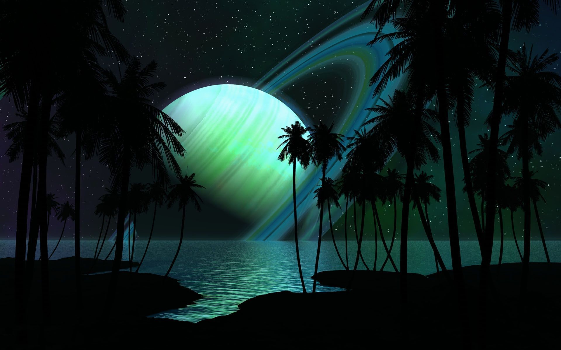 Res: 1920x1200, Green glowing planet over the ocean wallpaper 14000