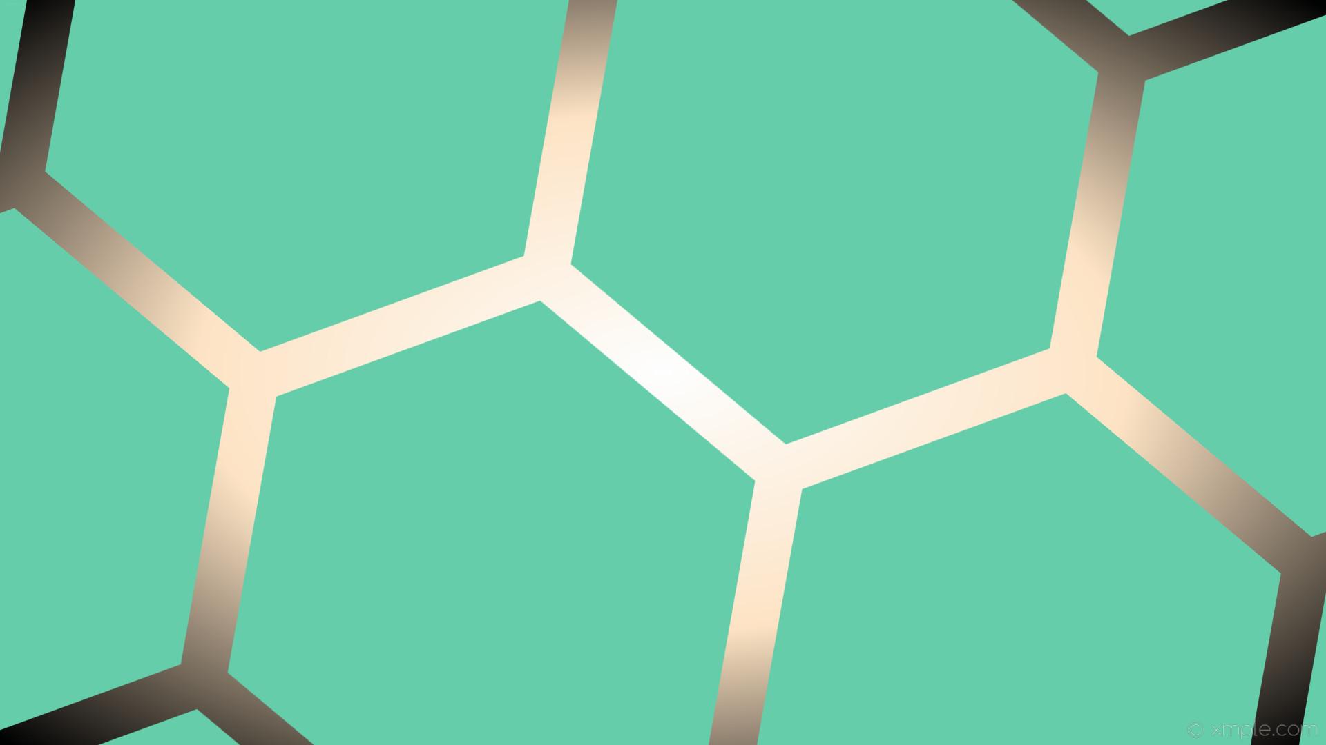 Res: 1920x1080, wallpaper hexagon white black green glow gradient brown medium aquamarine  bisque #66cdaa #ffffff #