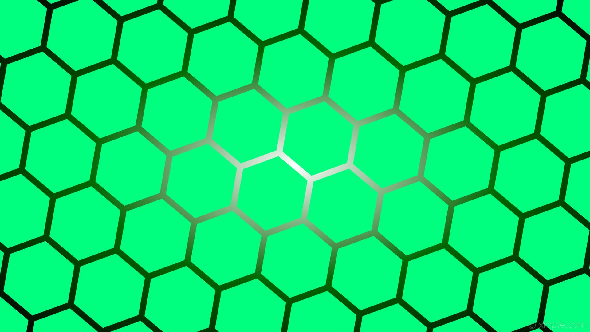 Res: 1920x1080, wallpaper green glow gradient hexagon white black spring green dark green  #00ff7f #ffffff #