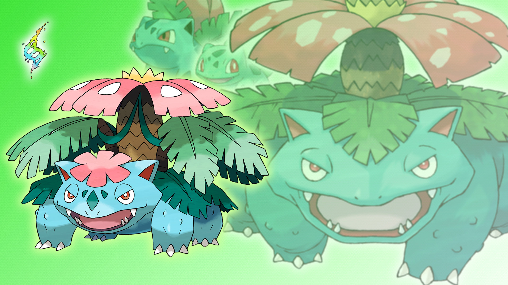 Res: 1920x1080, ... Bulbasaur, Ivysaur, Venusaur and Mega Wallpaper by Glench