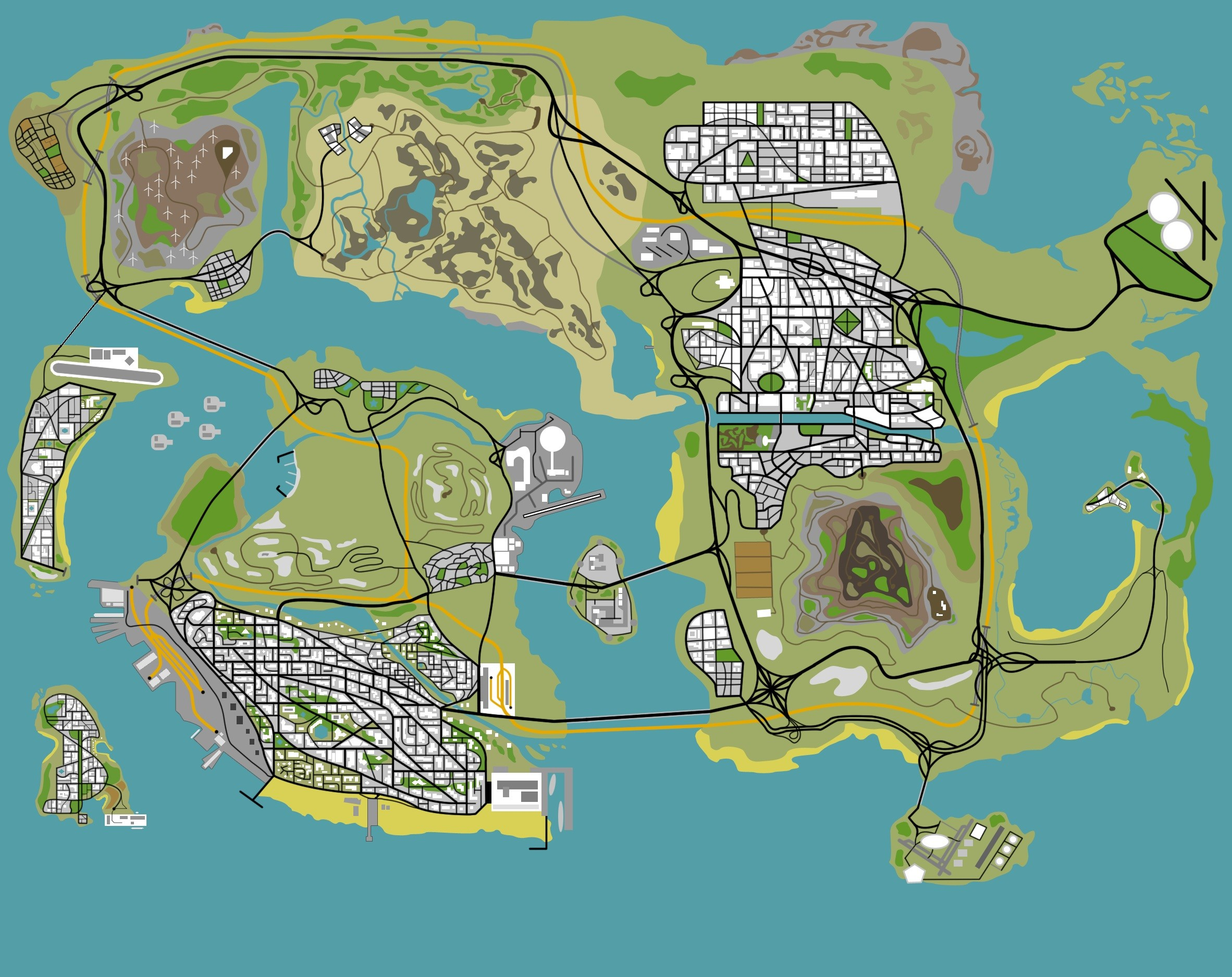 Res: 2364x1875, Another GTA IV map:  http://image.noelshack.com/fichiers/2012/30/1343129315-1343079767-Refonte-map.jpg.