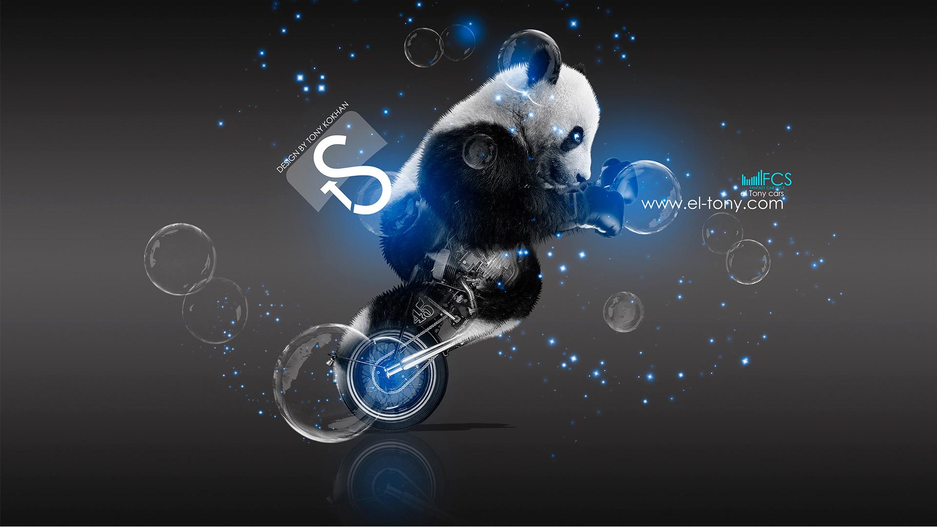 Res: 1920x1080, Moto-Retro-Fantasy-Panda-Blue-Boxing-Art-2013-HD-Wallpapers -by-Tony-Kokhan-[www.el-tony.com]