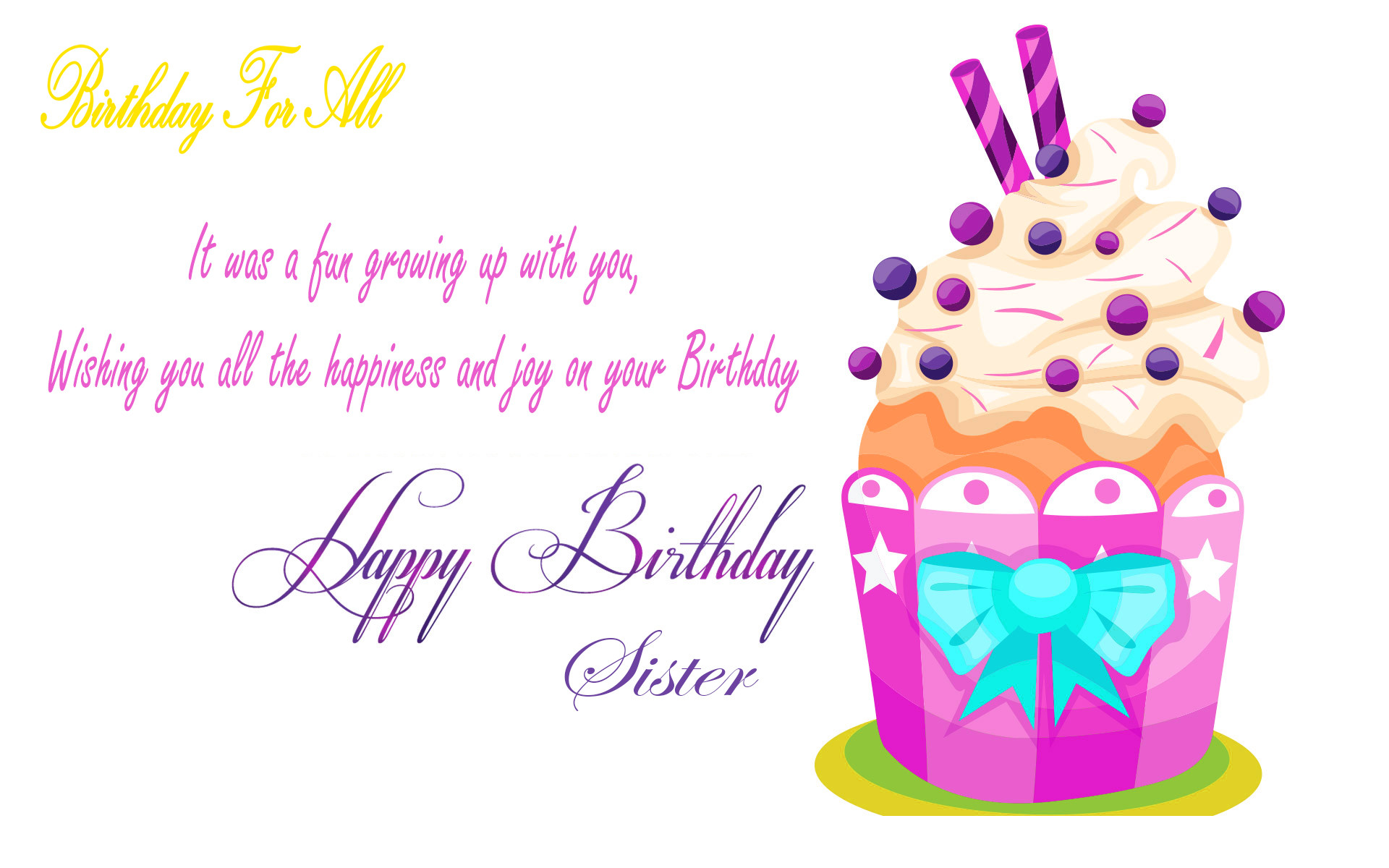 Res: 1920x1200, Birthday Wishes For Sister