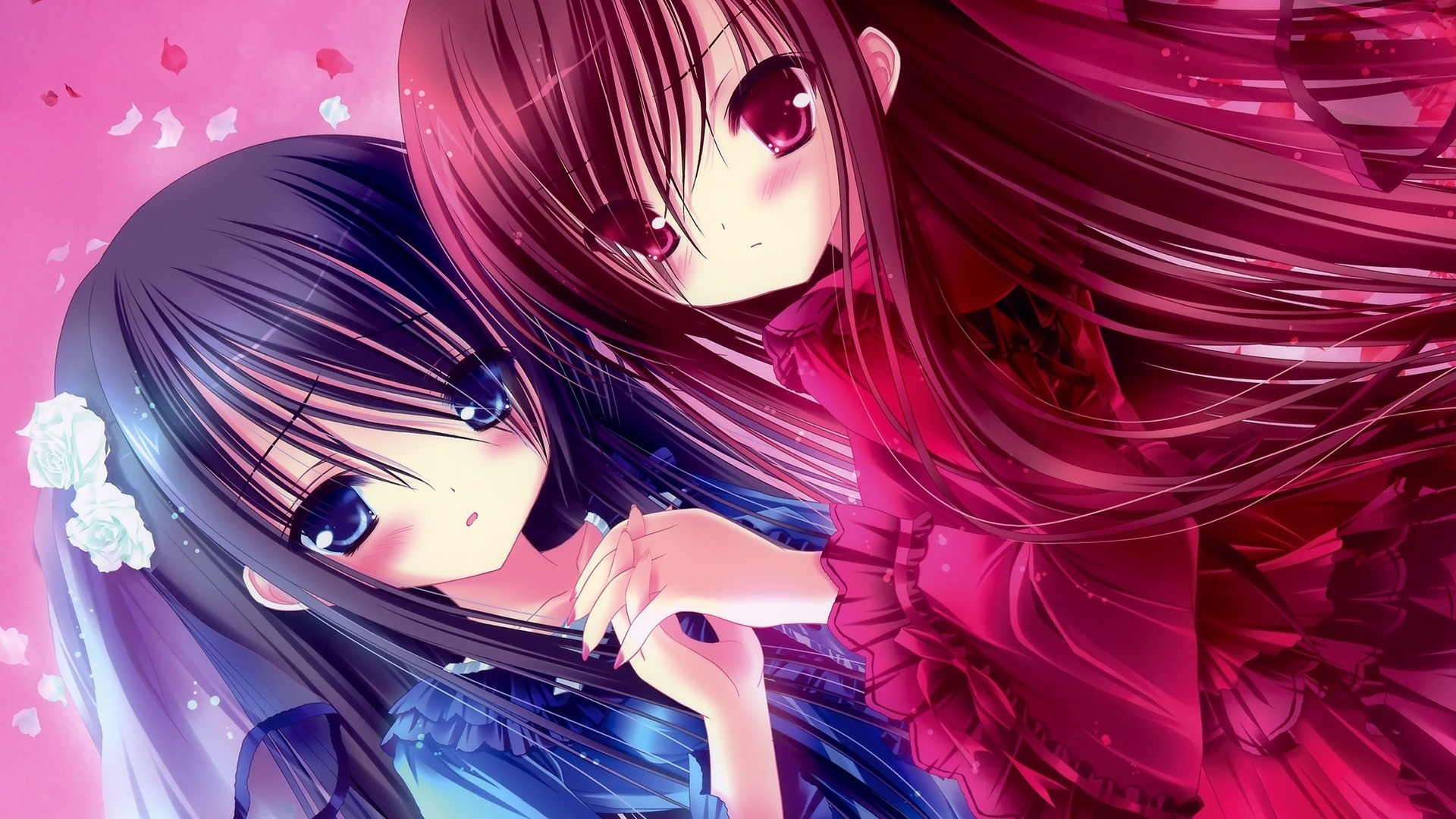Res: 1920x1080, Awesome Anime Beautiful Sisters Girl Wallpaper Free - Beautiful Anime  Sisters HD Wallpaper