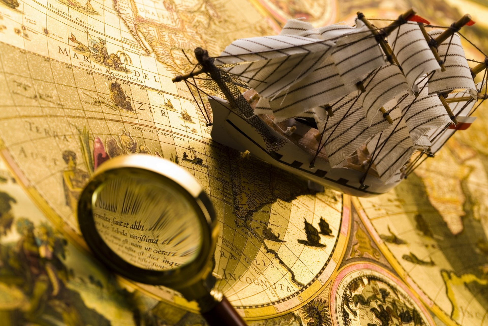 Res: 1920x1282, nautical composition ancient map magnifier travel ship blur bokeh wallpaper.