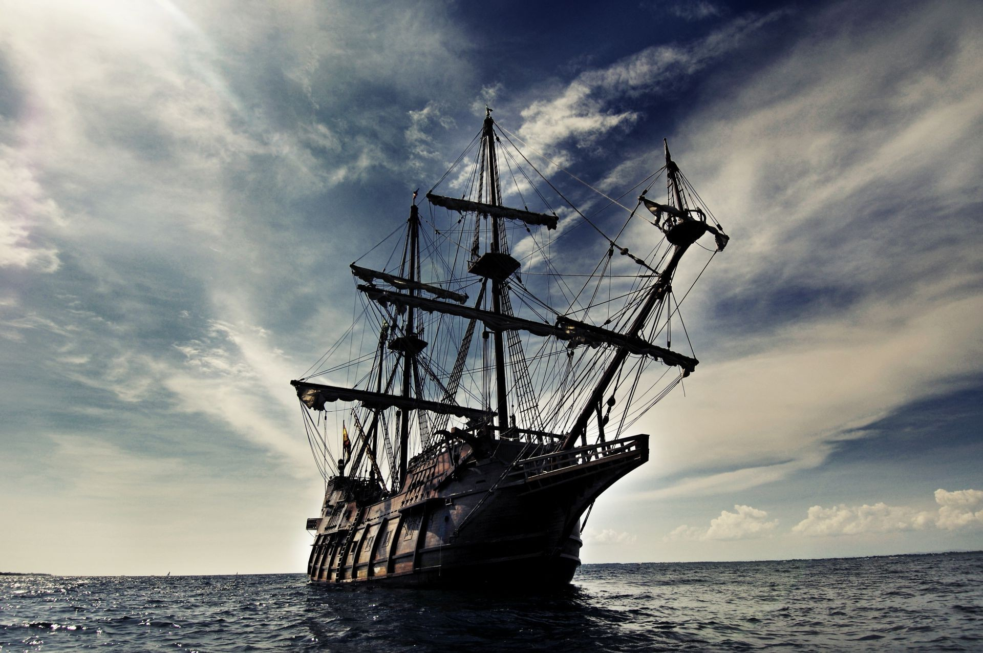 Res: 1920x1275, Ship Galleon sailing sea waves sky clouds landscape. Android wallpapers for  free.