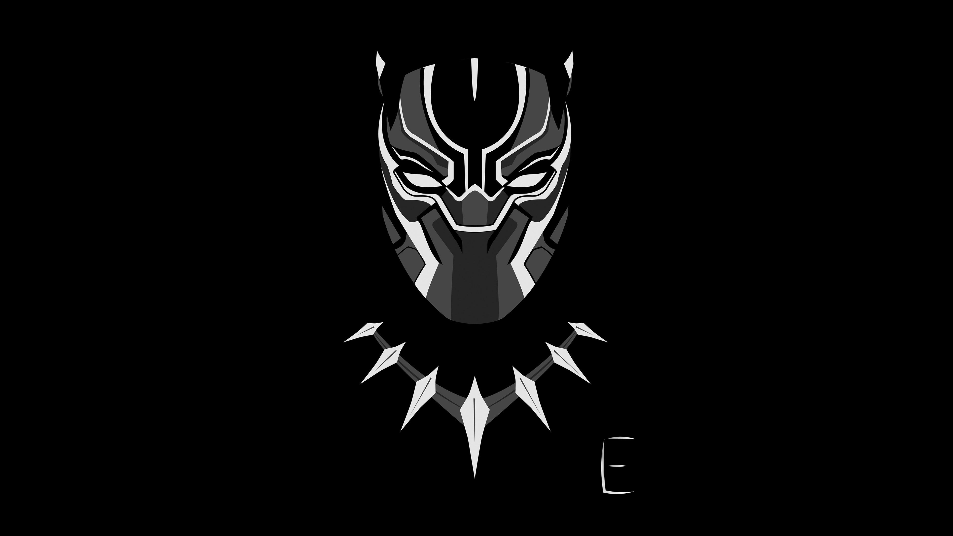Res: 3840x2160, Black Panther Minimalism 4k