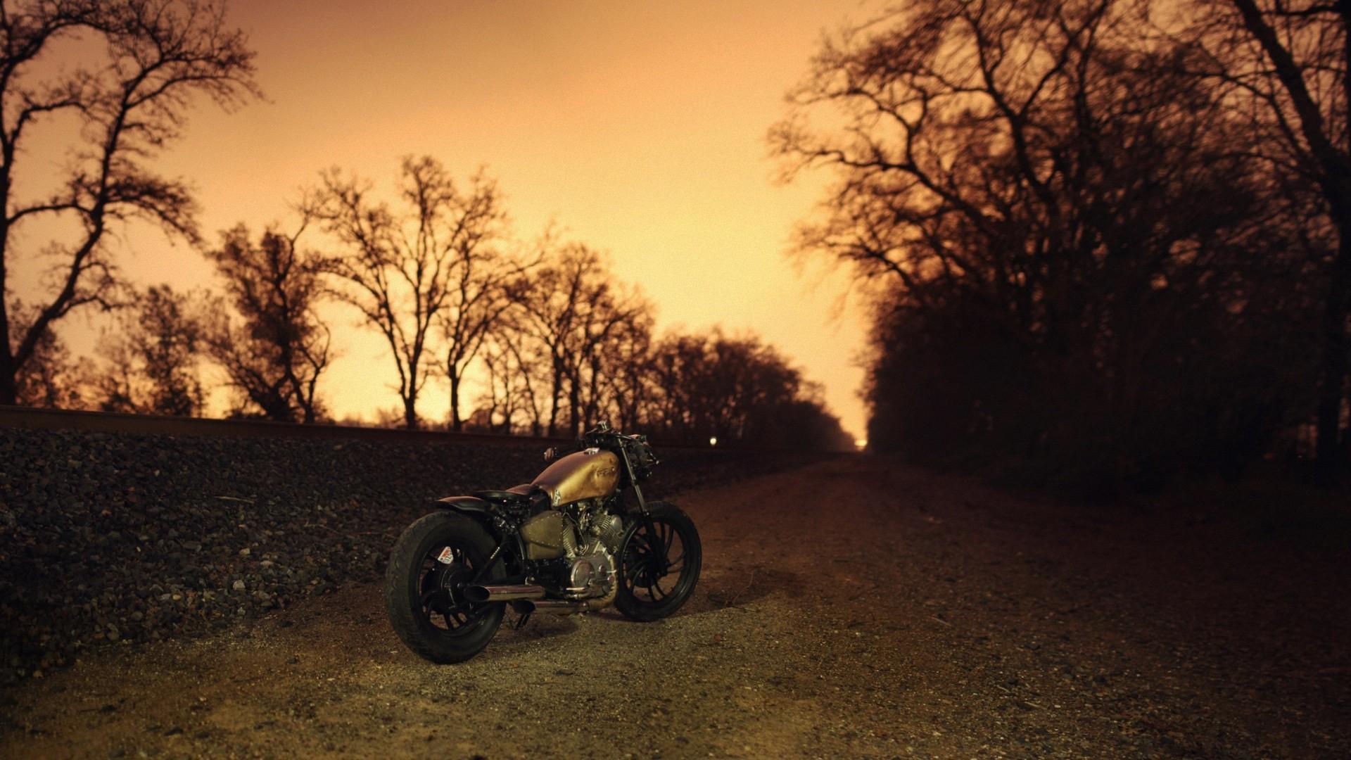 Res: 1920x1080,  Sonnenlicht Sonnenuntergang Nacht- Motorrad Sonnenaufgang Abend  Morgen Bobber Dämmerung Harley Davidson Licht