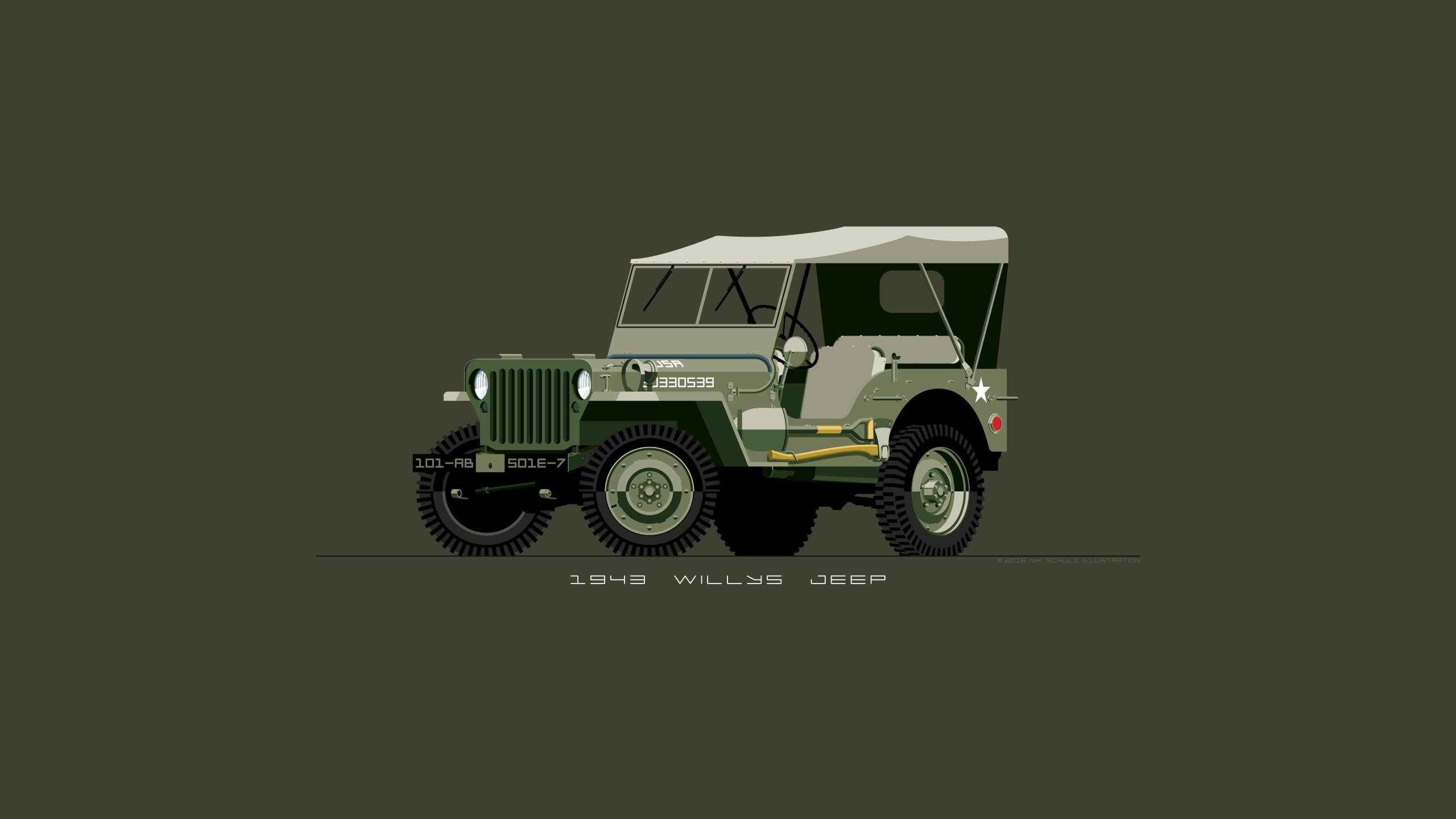 Res: 2560x1440, 1943 Willys Jeep in Olive Drab