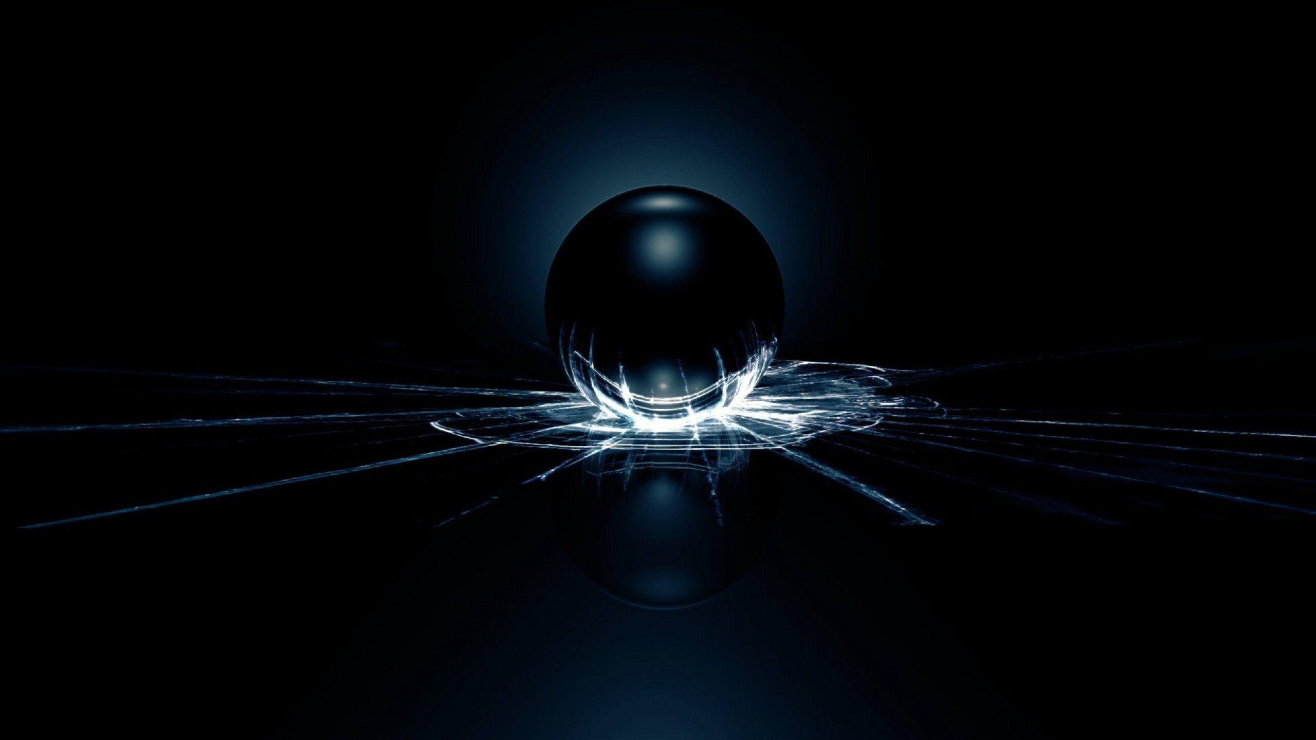 Res: 2560x1440, glass-background-ball-wallpapers-wallpaper-desktop-crack-black-