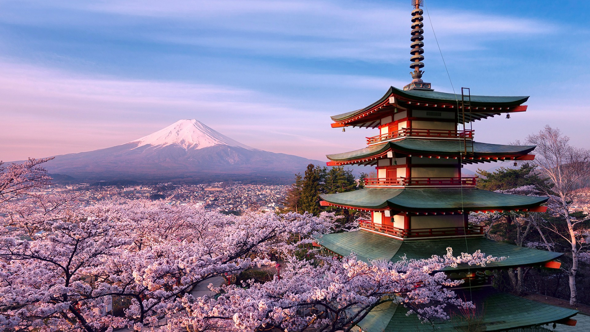Res: 1920x1080, Mount Fuji Volcano And Chureito Pagoda Wallpaper   Wallpaper Studio 10    Tens of thousands HD and UltraHD wallpapers for Android, Windows and Xbox