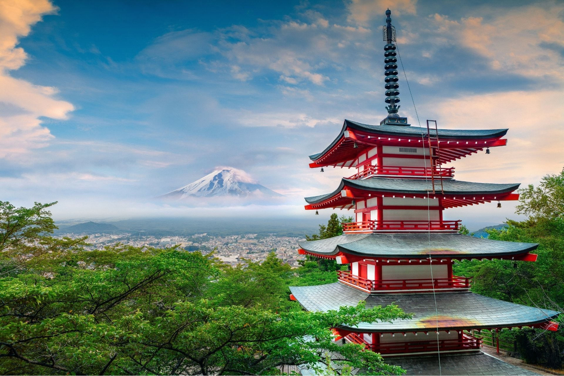 Res: 1920x1280, japan stratovolcano mountain fuji summer june weather house architecture