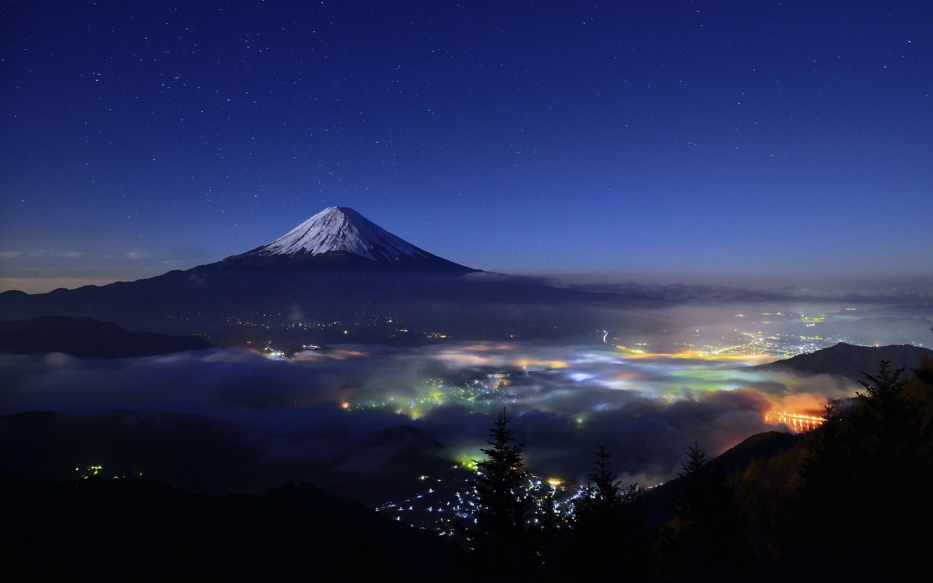 Res: 1920x1200, nature, Landscape, Starry Night, Mountain, Cityscape, Mist, Snowy Peak,  Lights, Trees, Mount Fuji, Japan Wallpapers HD / Desktop and Mobile  Backgrounds