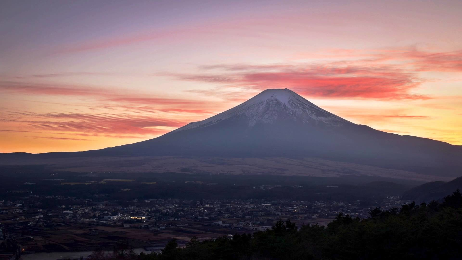Res: 1920x1080, Mt. Fuji at Sunset (Timelapse)