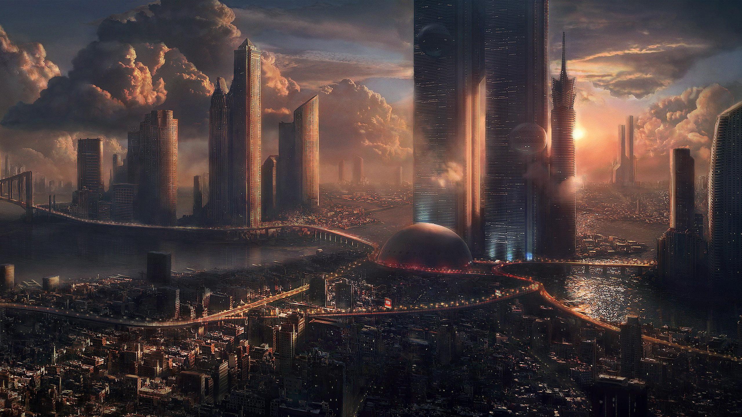 Res: 2560x1440, Science-Fiction - Großstadt Wallpaper