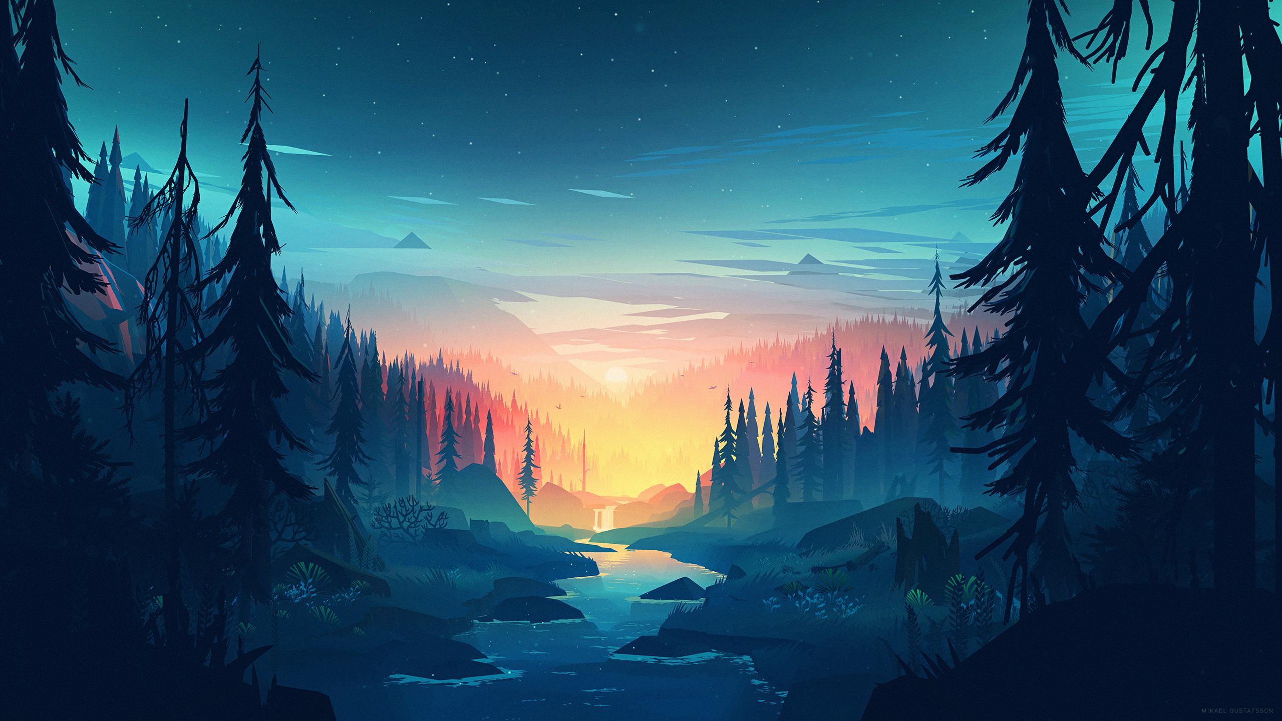 Res: 2560x1440, Artistic - Sunset Tree Artistic River Nature Landscape Forest Wallpaper