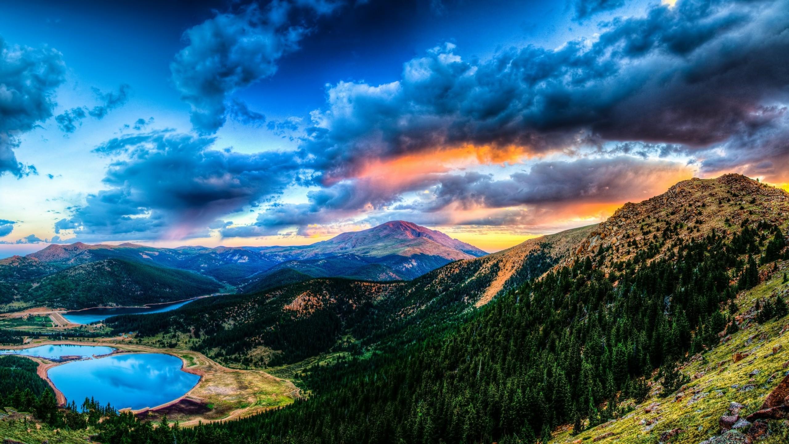 Res: 2560x1440,  Wallpaper sunset, mountain, lake, landscape