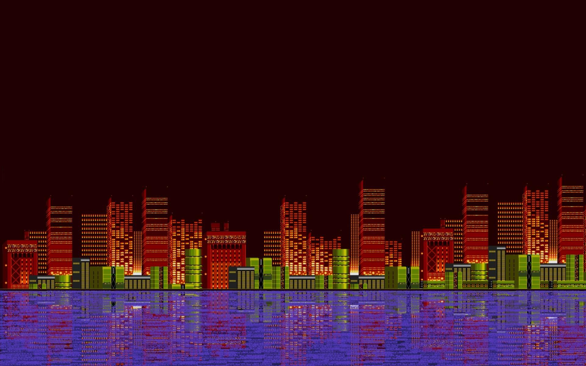 Res: 1920x1200, pixel art, 16 bit, Sega, Sonic the Hedgehog, City Wallpapers HD / Desktop  and Mobile Backgrounds