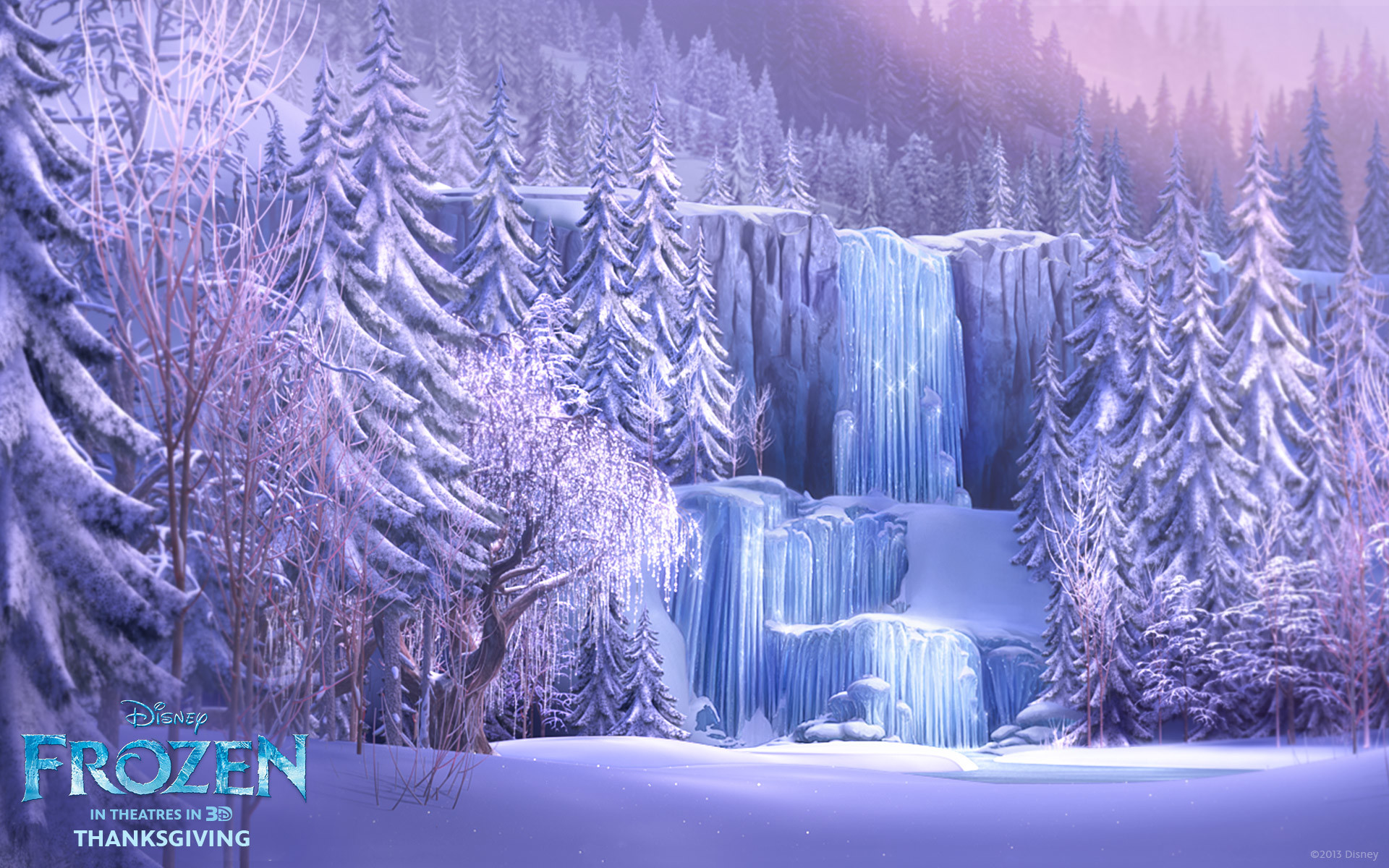 Res: 1920x1200, Frozen waterfall from Disney's movie Frozen wallpaper