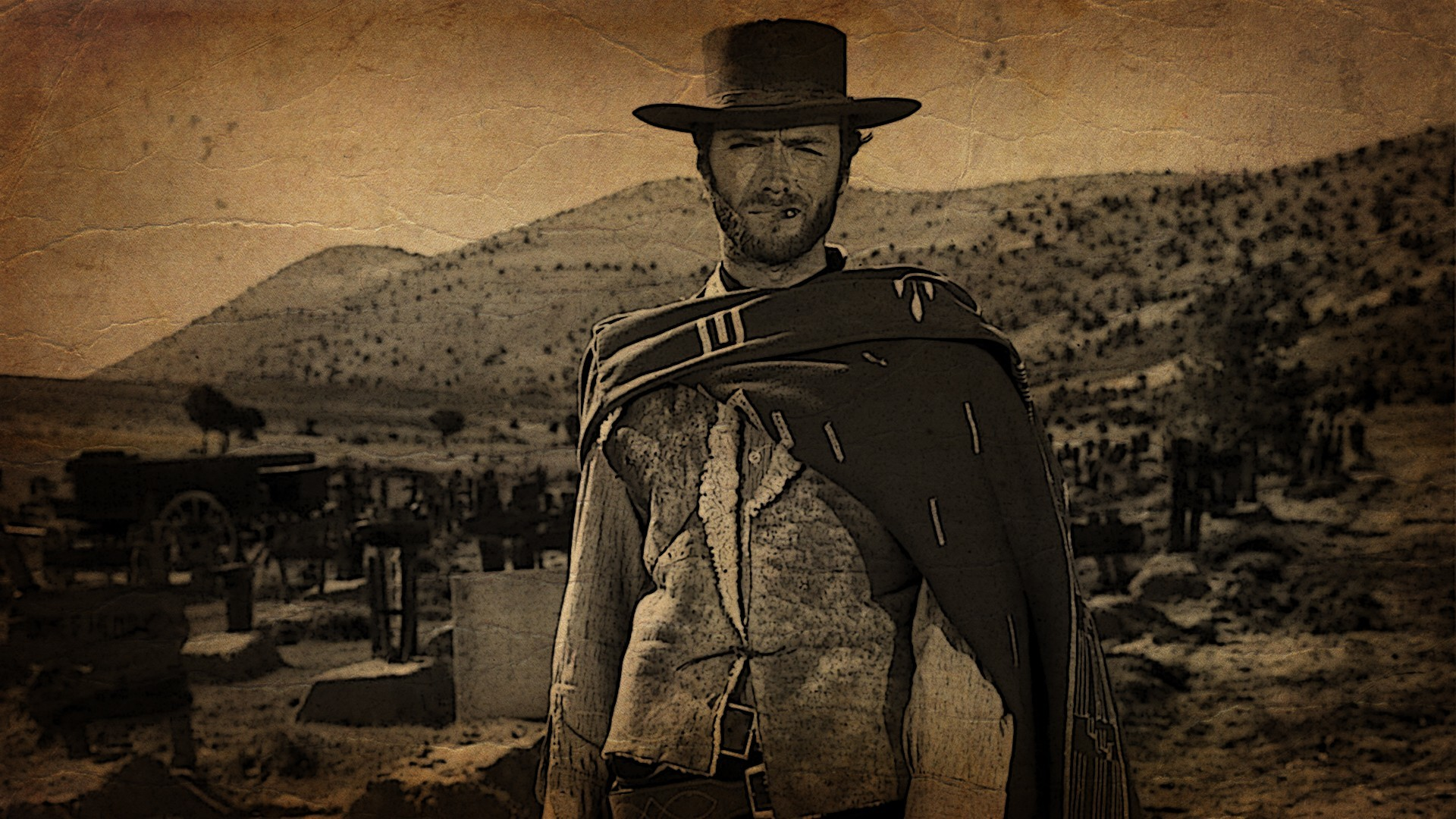 Res: 1920x1080, Clint Eastwood, Western, Sepia, Cowboys Wallpapers HD / Desktop and Mobile  Backgrounds