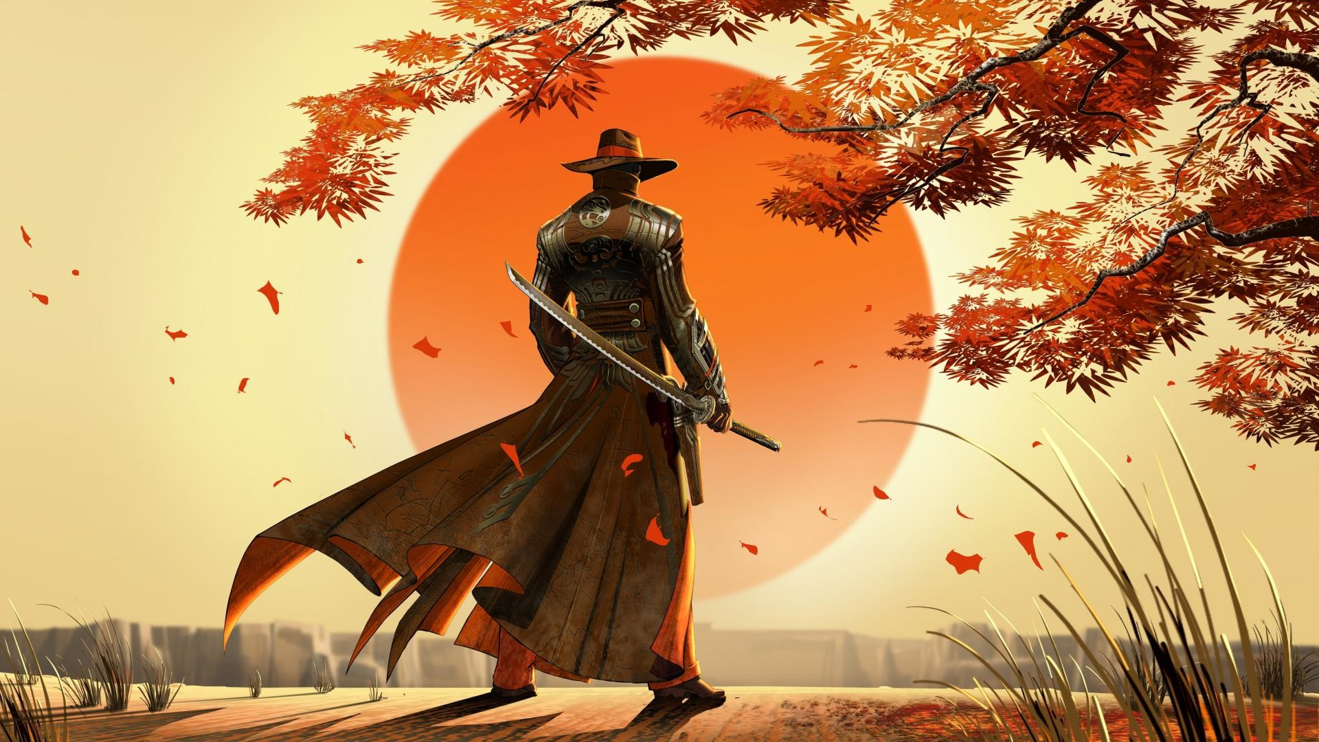 Res: 1920x1080, Video games samurai western red steel swords cowboy hats wallpaper.jpg