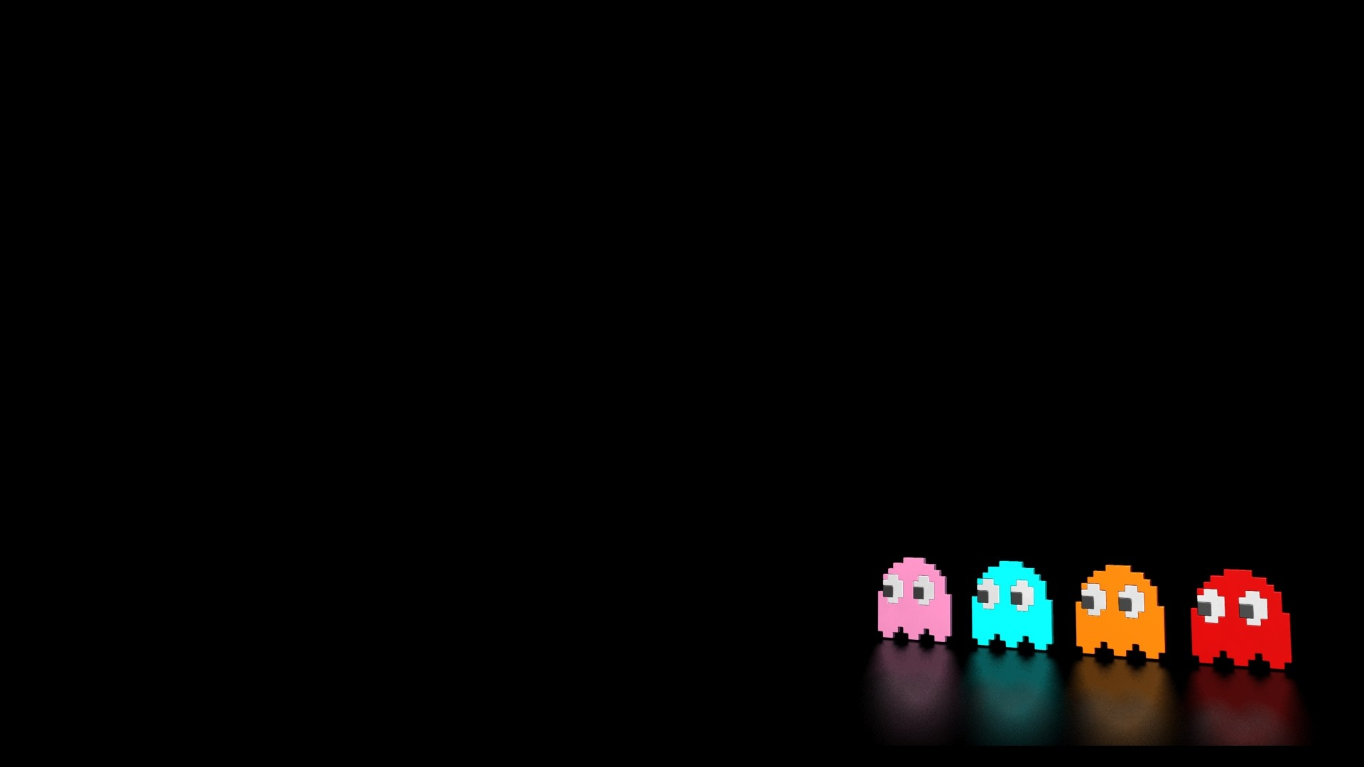 Res: 1920x1080, Reflective Pacman Ghosts Wallpaper