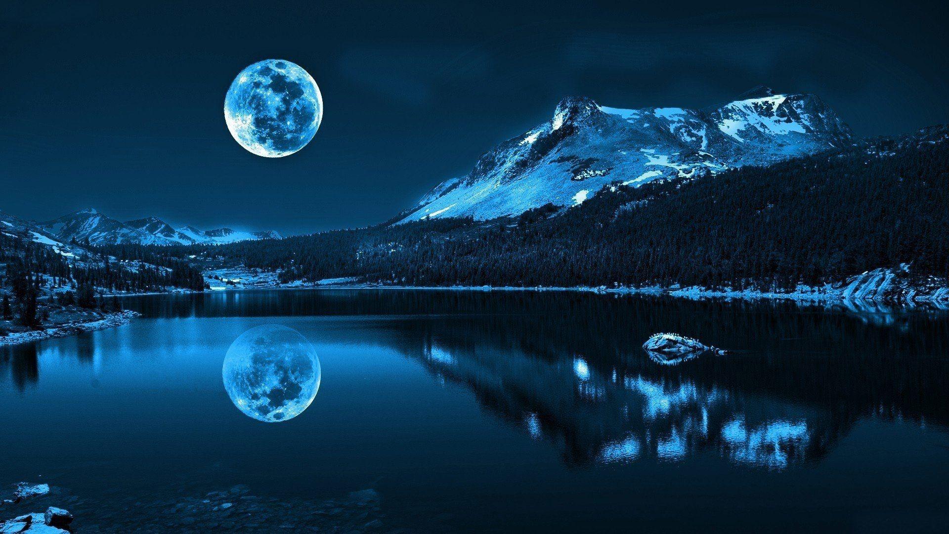 Res: 1920x1080, Beautiful Night Moon Mountain and Lake Shadow HD Wallpaper