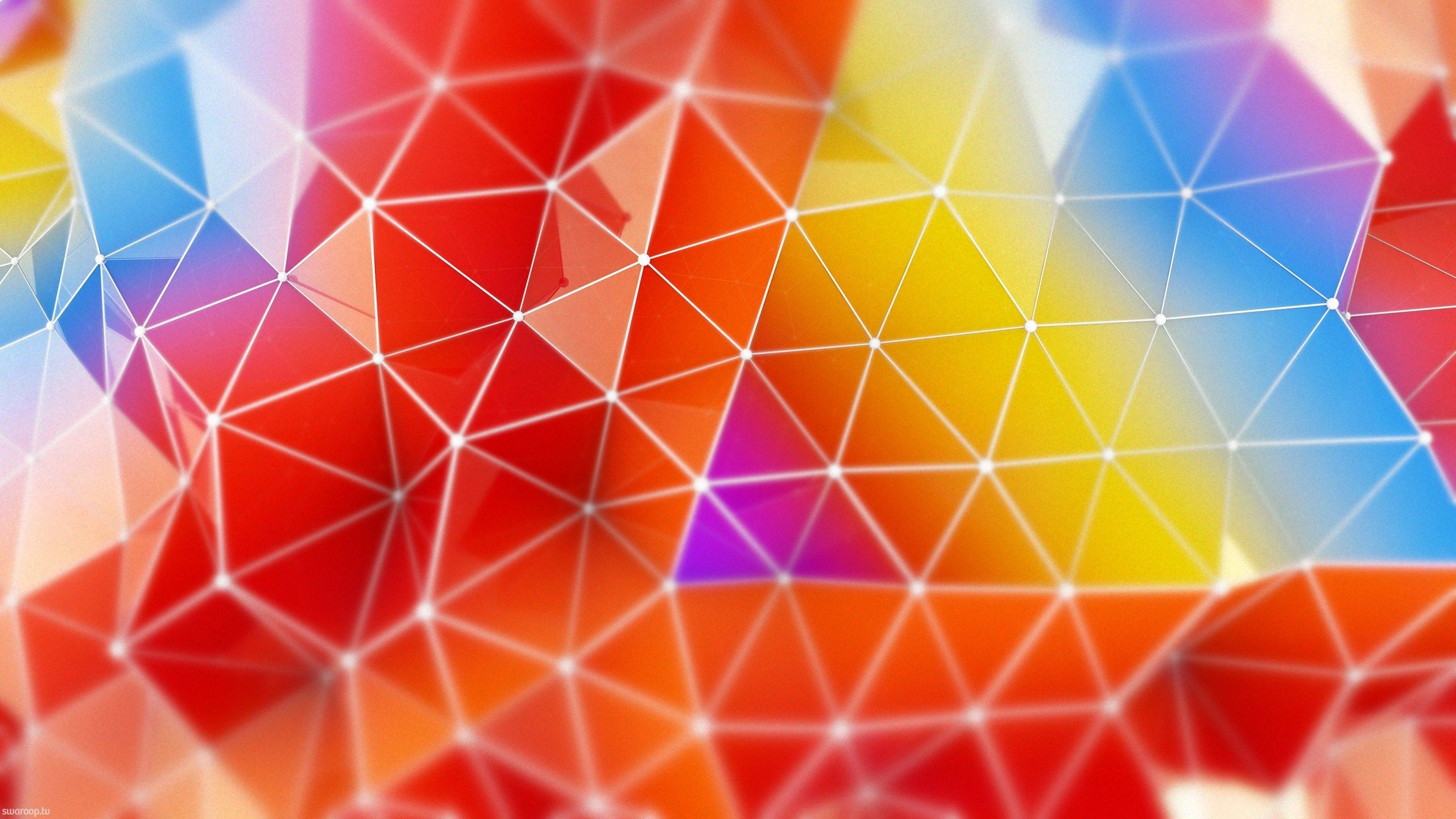 Res: 2560x1440, 3d Reflective Light Colored Triangles Wide HD Wallpaper