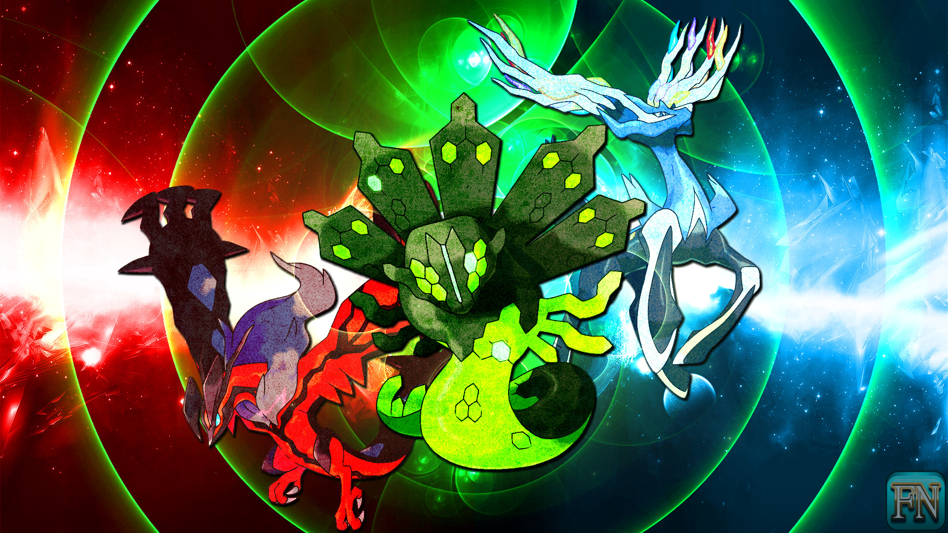 Res: 1920x1080, ... Pokemon Wallpaper: Xerneas Yveltal and Zygarde by FRUITYNITE