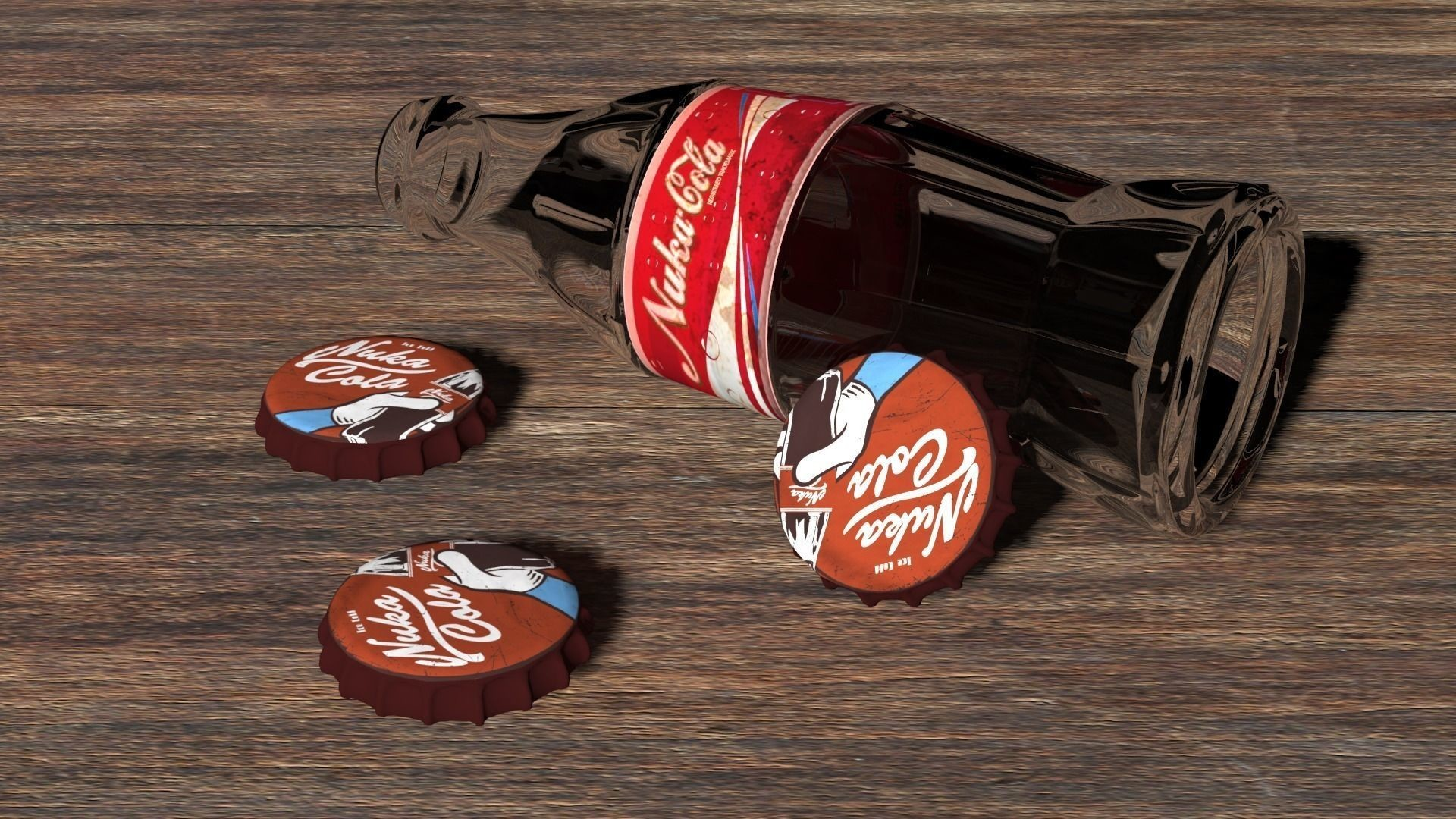 Res: 1920x1080, bottle and caps from under a nuka-cola 3d model max 1 ...
