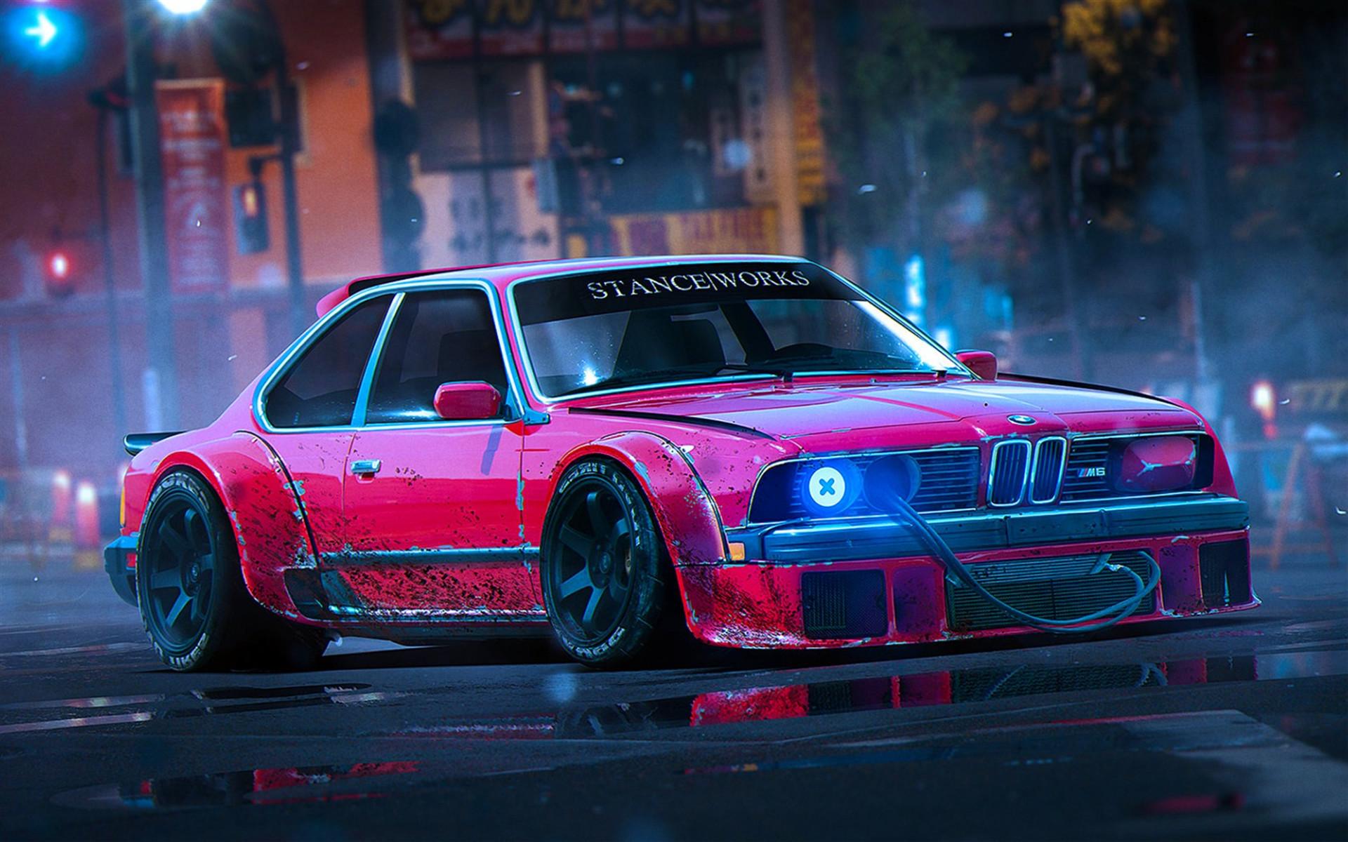 Res: 1920x1200, BMW M6, E24, stance, art, tuning, night, BMW