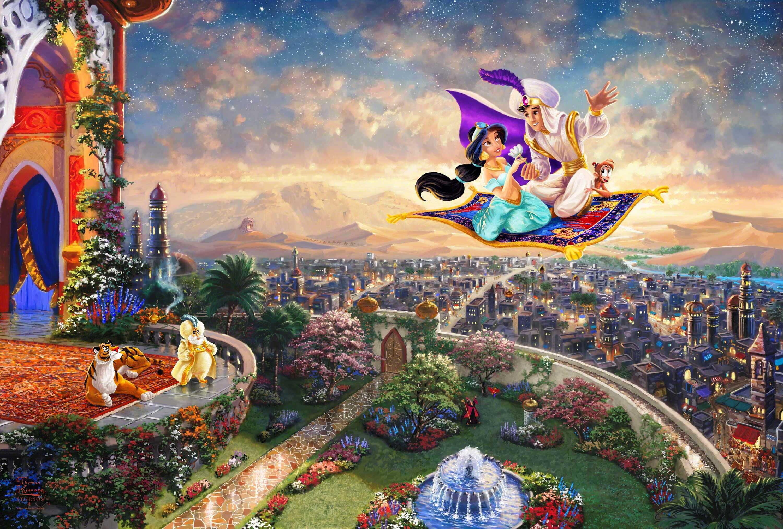 Res: 3000x2027, Alladin and Princess Jasmine riding on a carpet illustration HD wallpaper