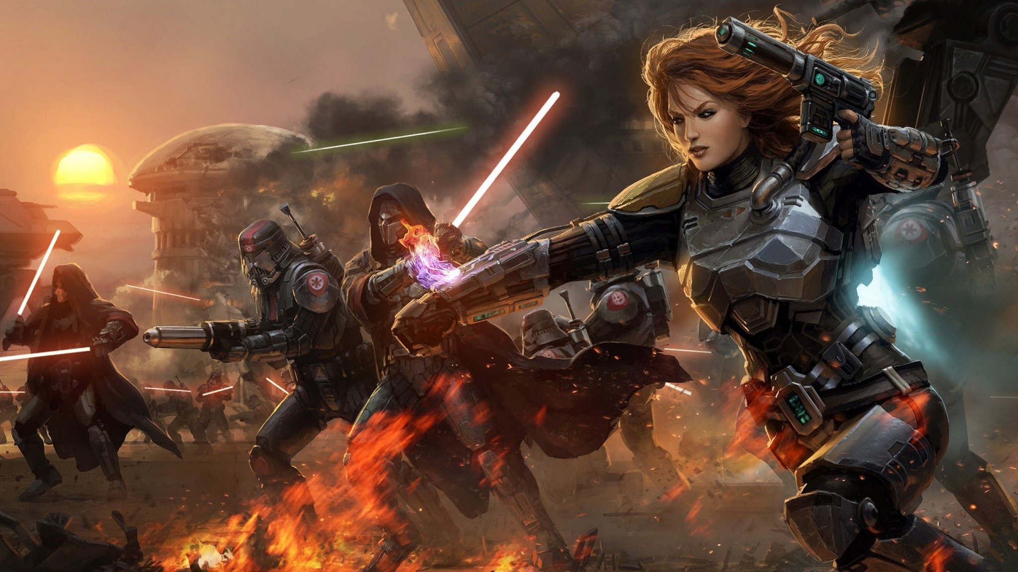 Res: 2048x1152, Video Game - Star Wars: The Old Republic Game Star Wars Battle Sci Fi  Lightsaber