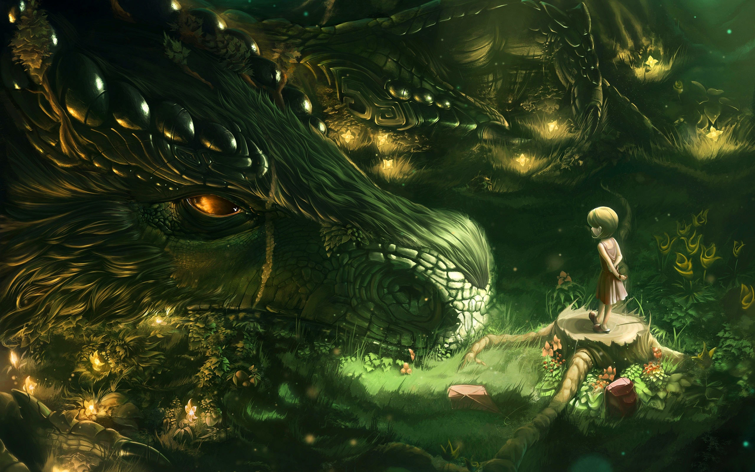 Res: 2560x1600, Huge Dragon with A Kid Wallpaper