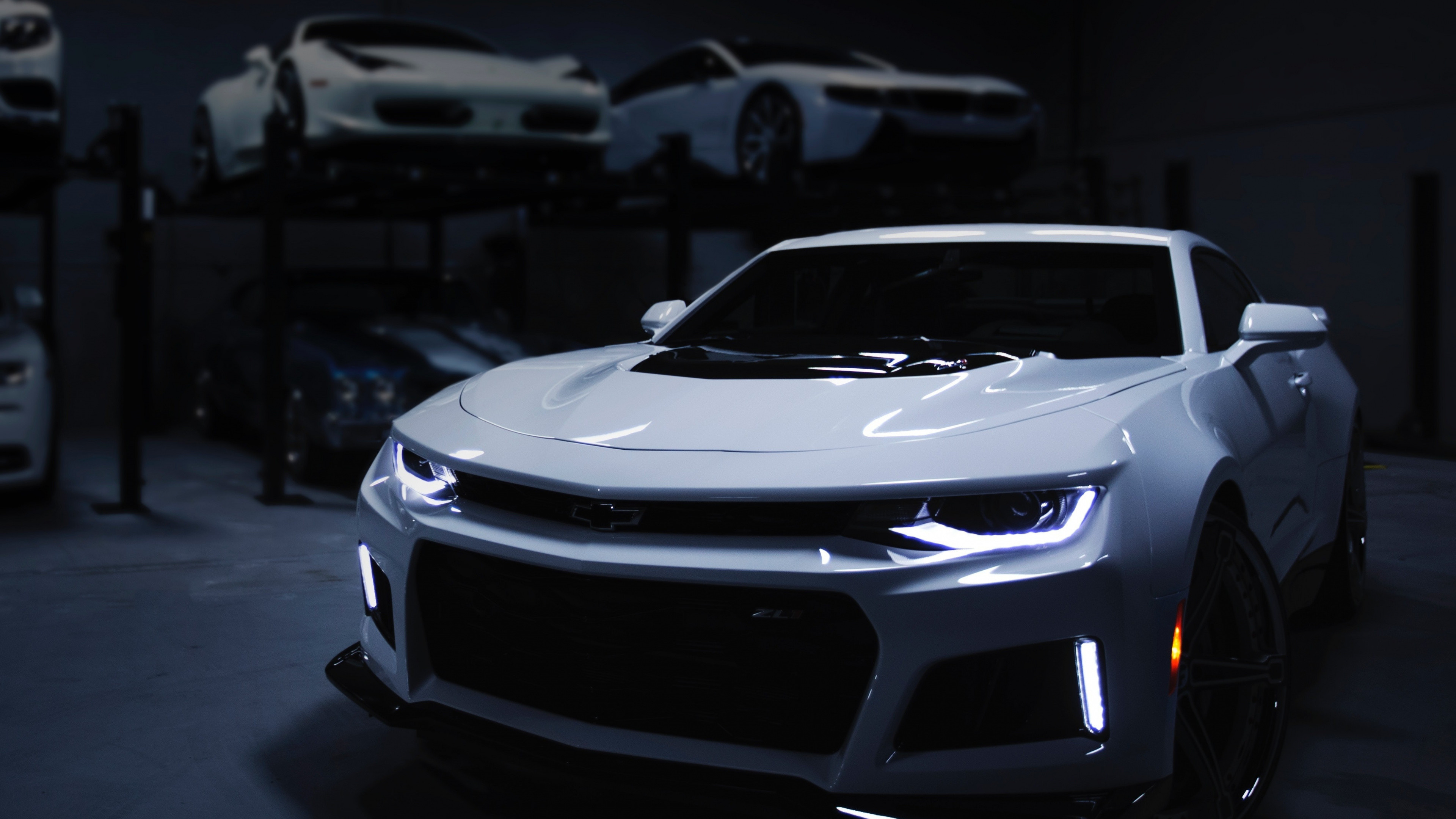 Res: 3840x2160,  wallpaper Chevrolet Camaro ZL1, white car, front