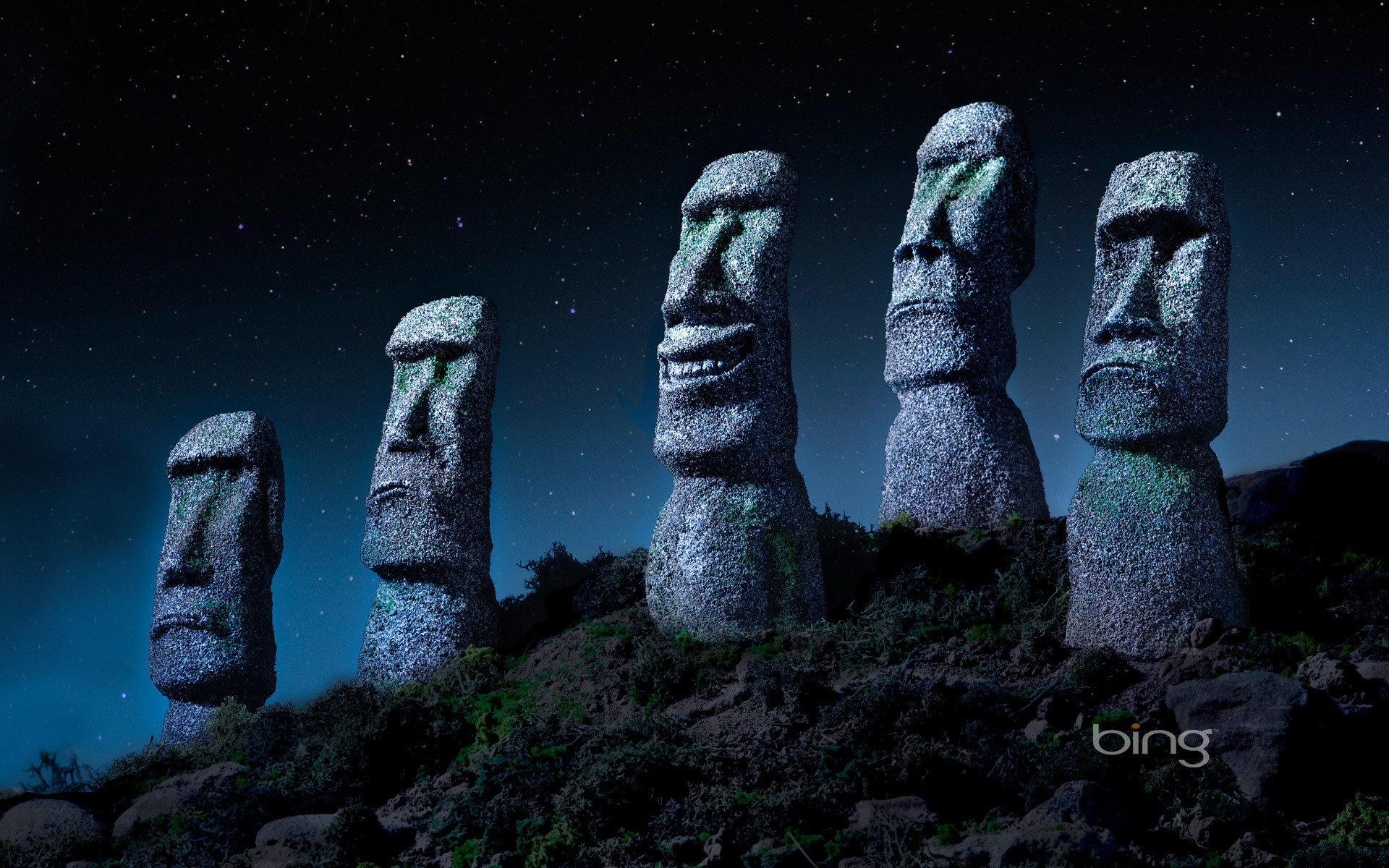 Res: 1920x1200, ... Moai statues on Easter Island, Chile (© Ocean/Corbis)