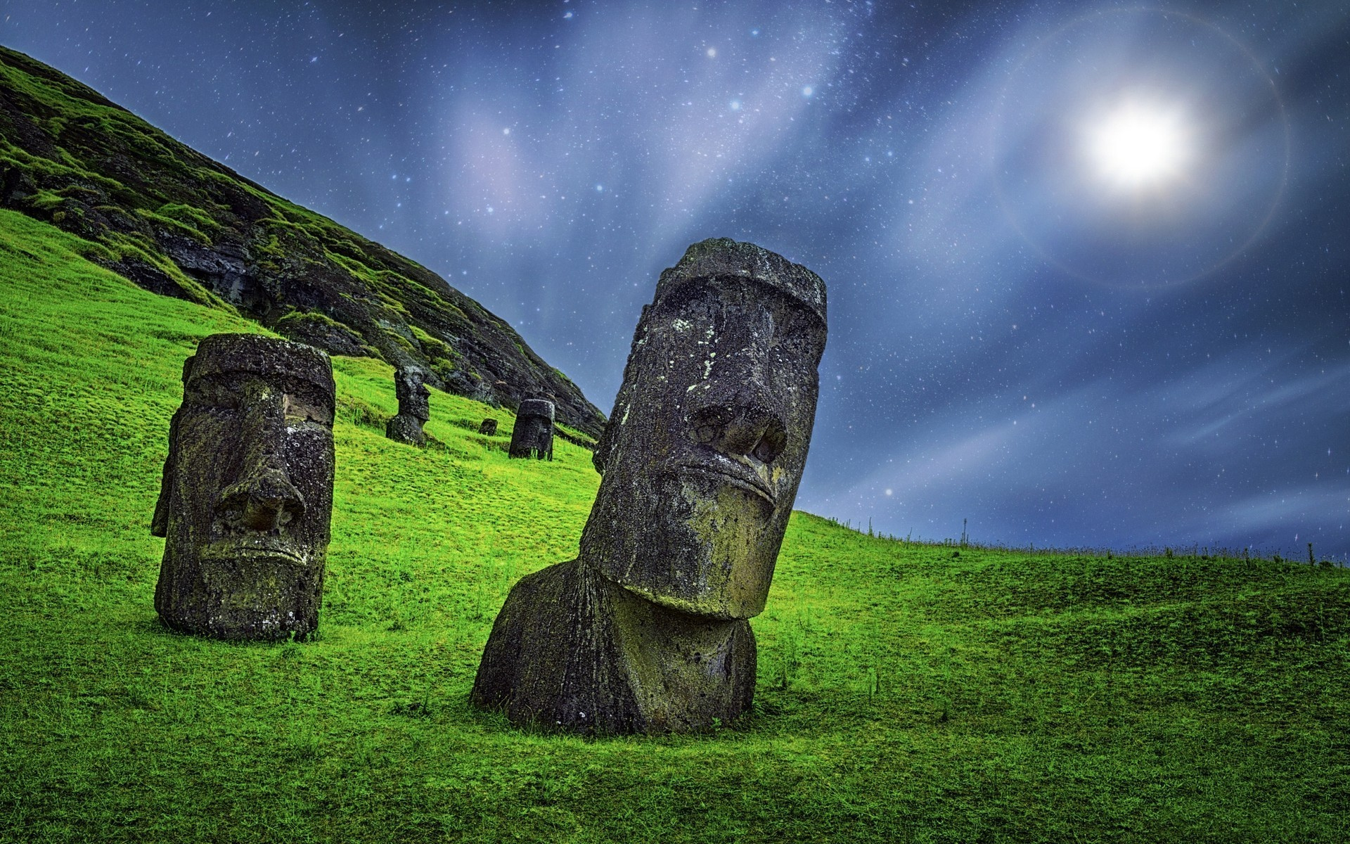 Res: 1920x1200, enigma nature landscape moai sculpture starry night grass moonlight easter  island rapa nui chile statue stone long exposure wallpaper and background