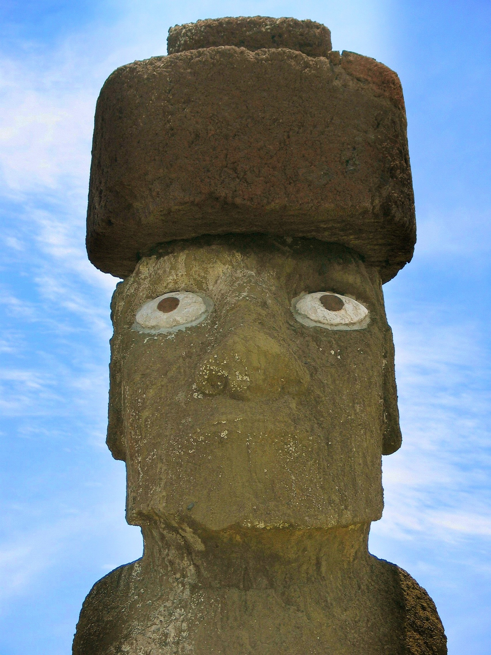 Res: 1704x2272, Re-erected tuff moai at Ahu Tahai with restored scoria pukao and replica  coral eyes.