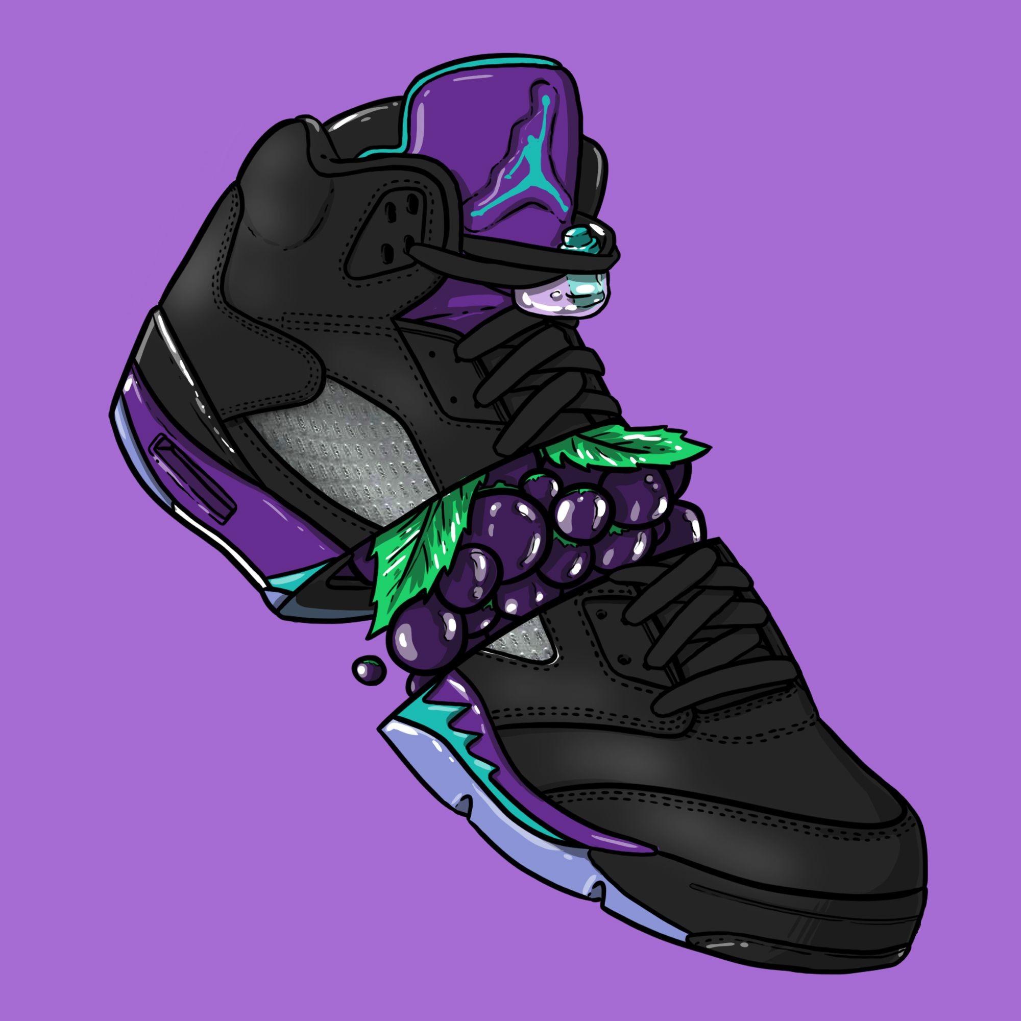 """Res: 2000x2000, Sneaker Art - Jordan V """"Black Grape"""""""