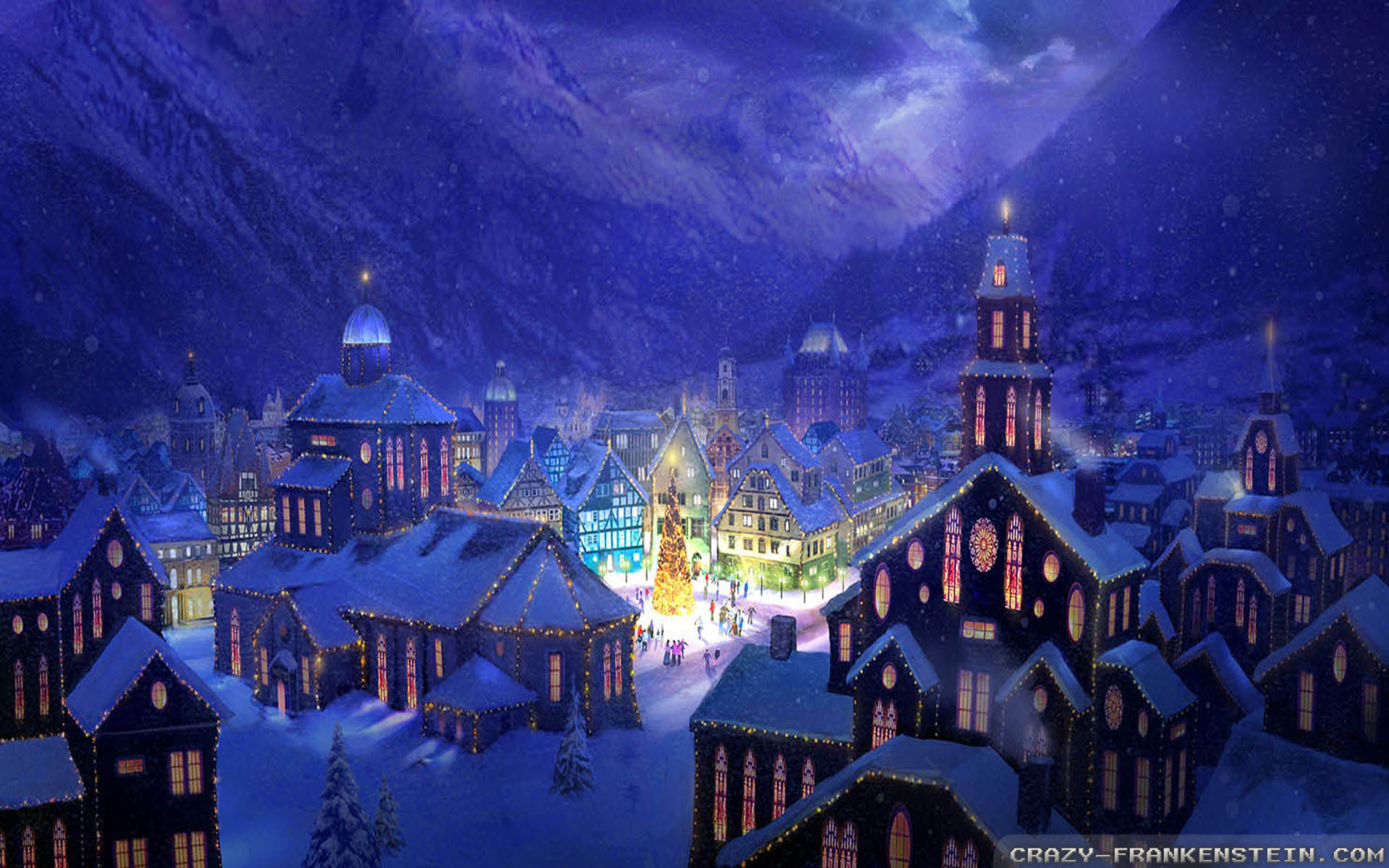 Res: 1920x1200, Christmas Village wallpapers - Crazy Frankenstein