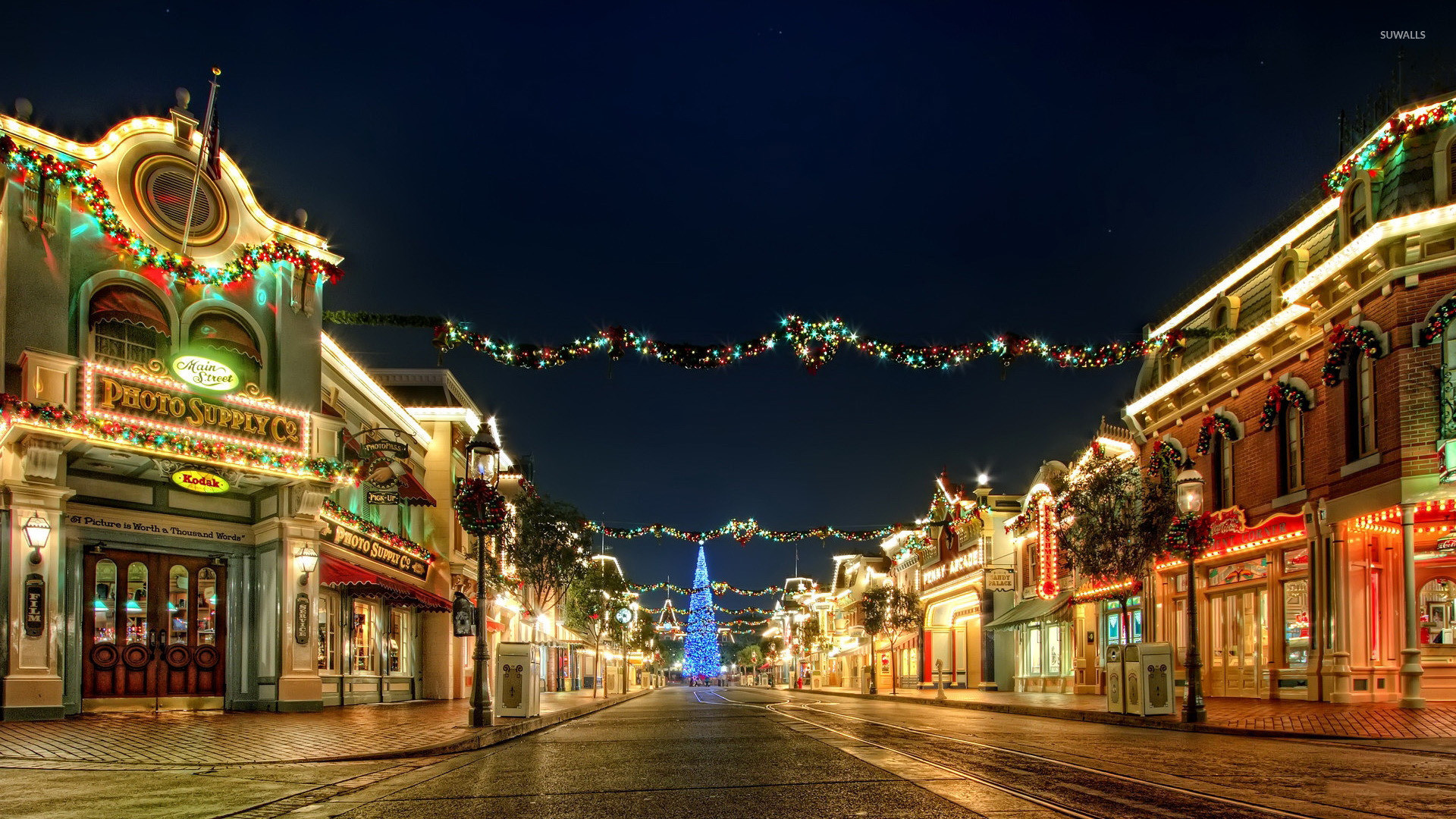 Res: 1920x1080, Christmas decorations in the city wallpaper  jpg