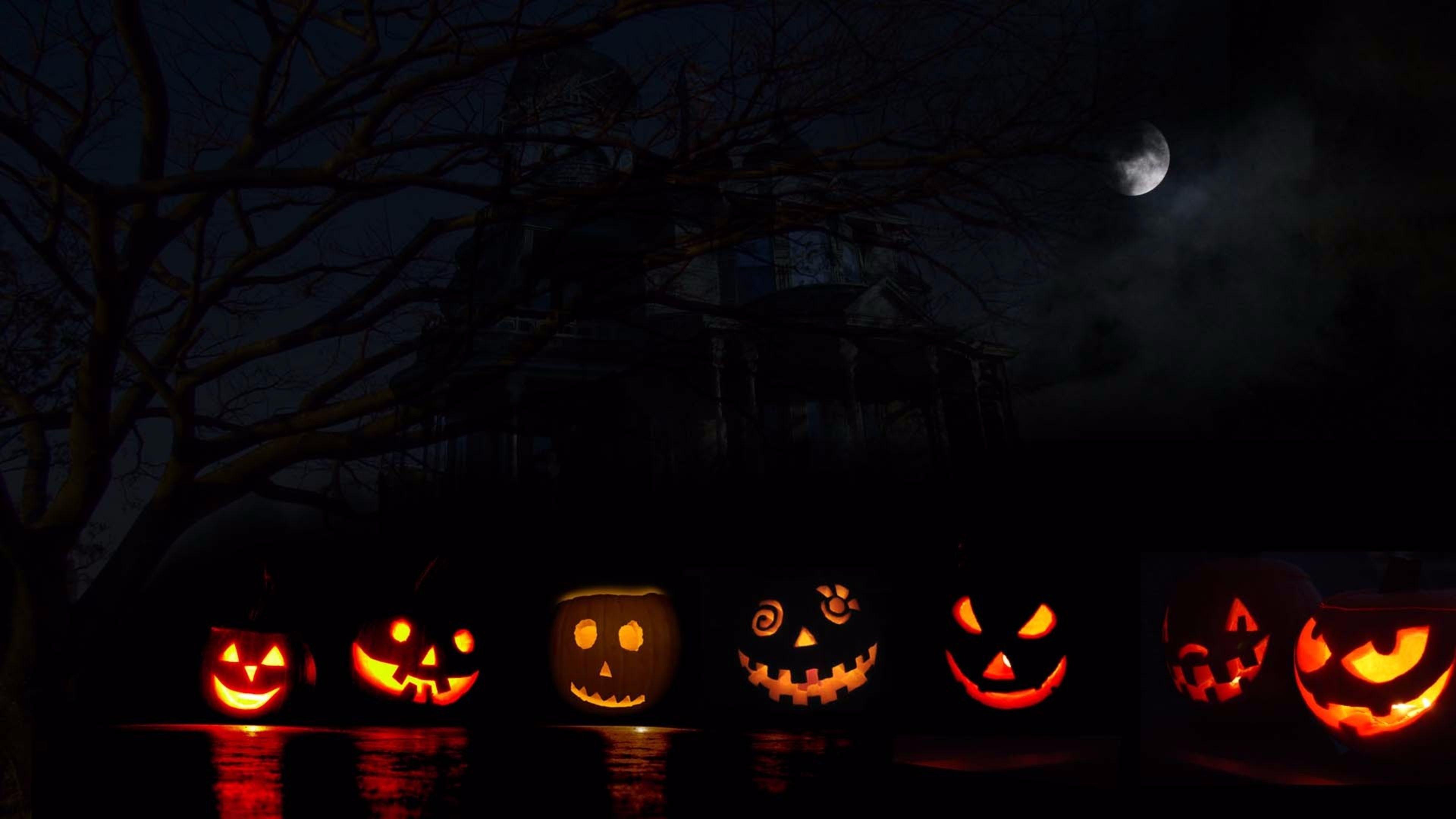 Res: 3840x2160, 7 Pumpkins 4K Halloween Wallpaper