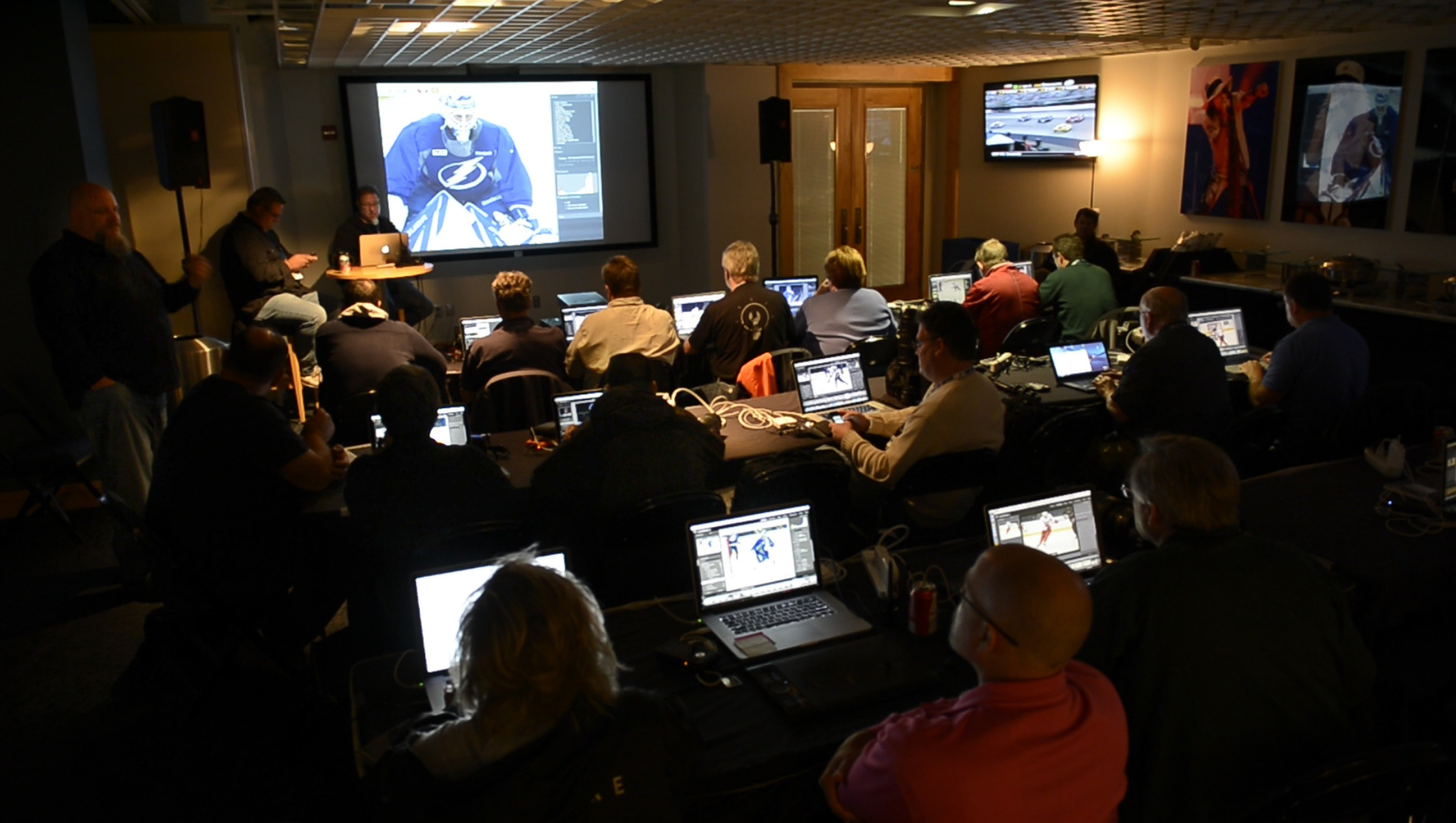 Res: 2856x1614, Above: Here's our workroom for the weekend, inside the VIP Club at the  Tampa Bay Times Forum. Sweet digs! (Photo by Brad Moore)