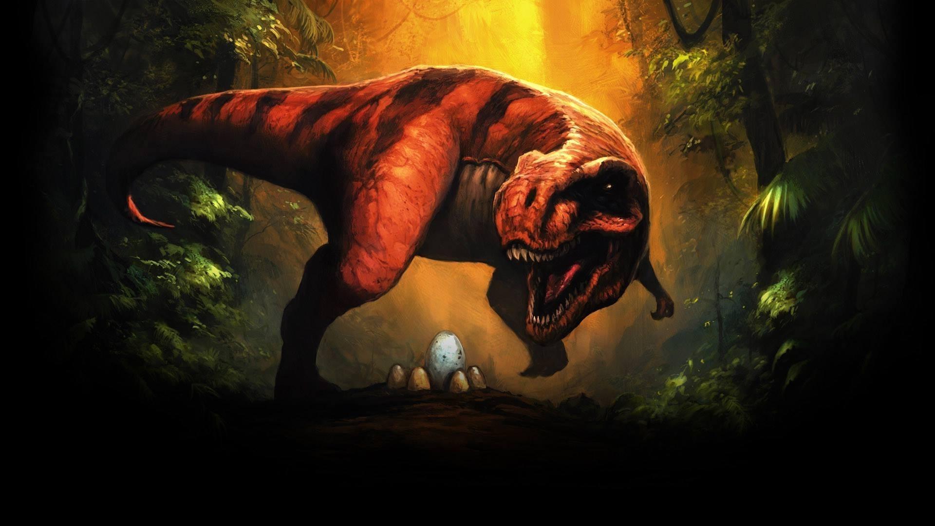 Res: 1920x1080, dinosaurs fantasy art tyrannosaurus rex eggs wallpaper and background