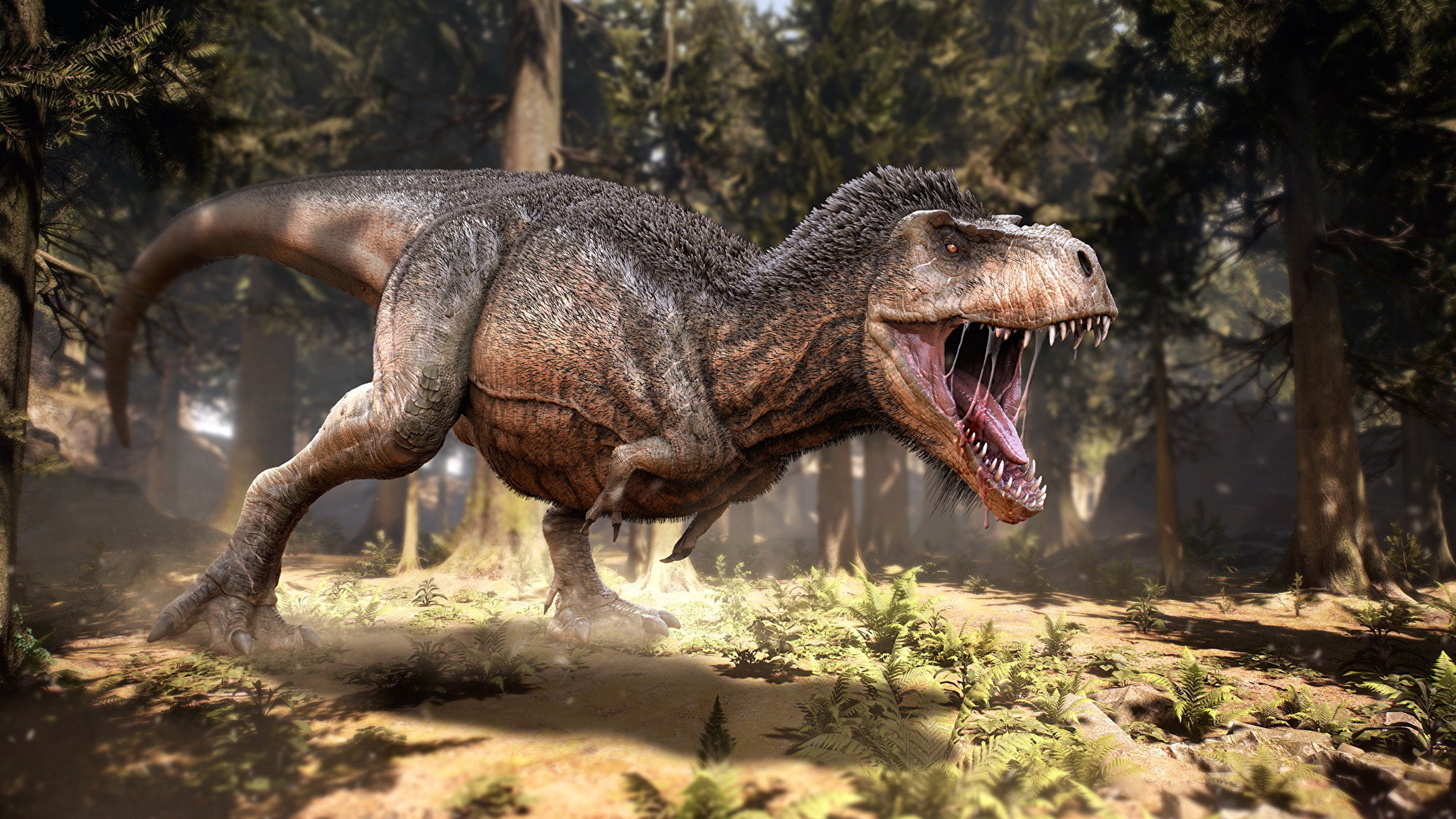 Res: 2048x1152, Wallpapers Tyrannosaurus rex Dinosaurs 3D Graphics Roar Animals Ancient  animals  angry