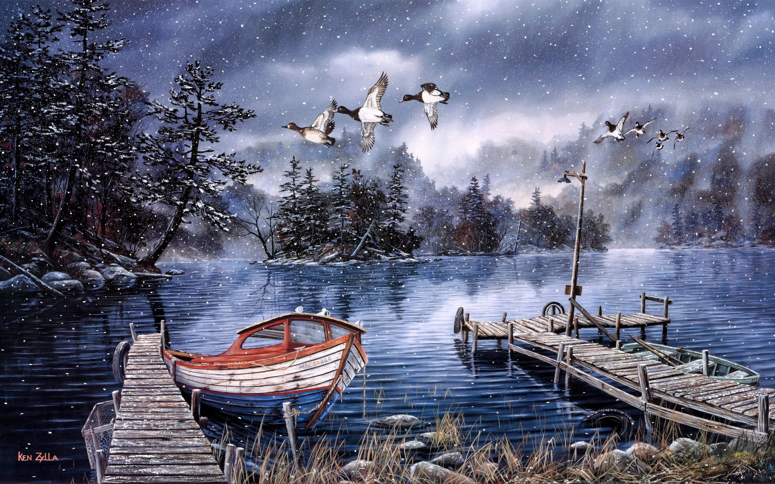 Res: 2560x1600, Watercolor painting, lake and woods, snow winter, dock, ducks, boat  wallpaper
