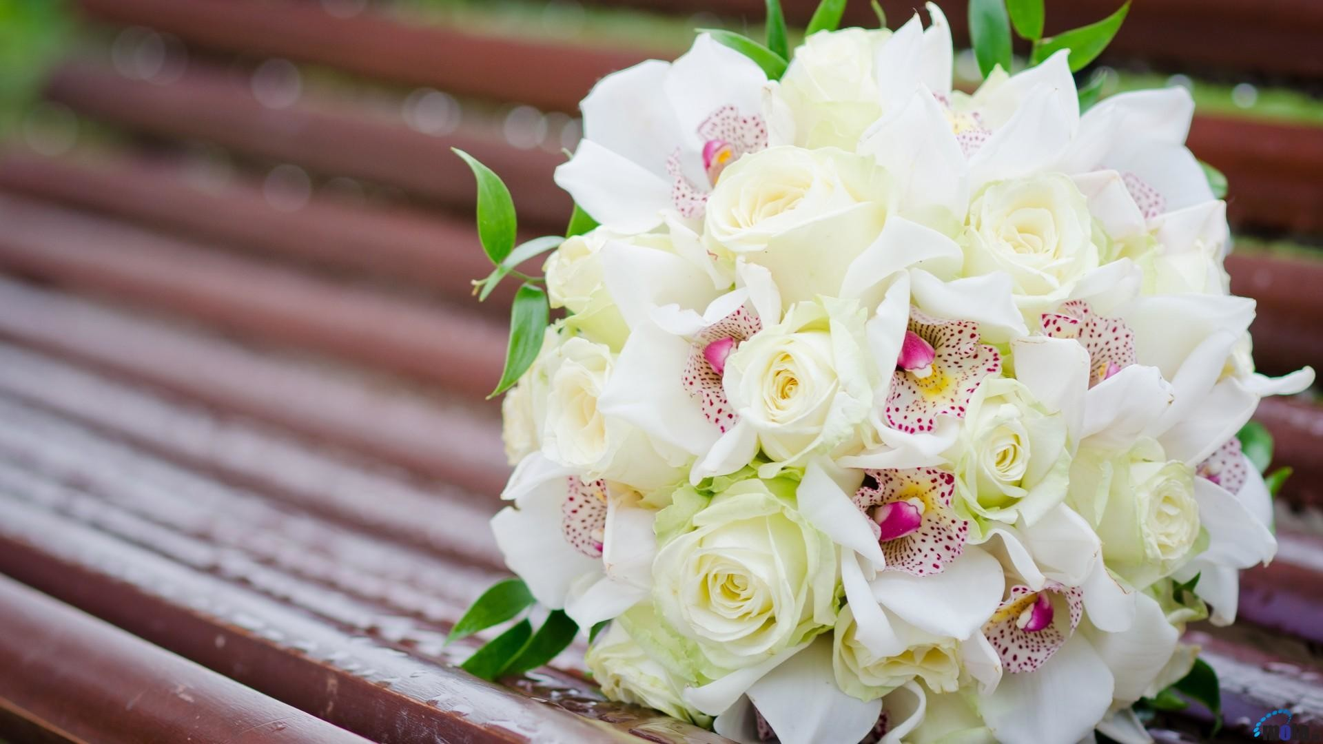 Res: 1920x1080, White roses and other flowers in a wedding bouquet