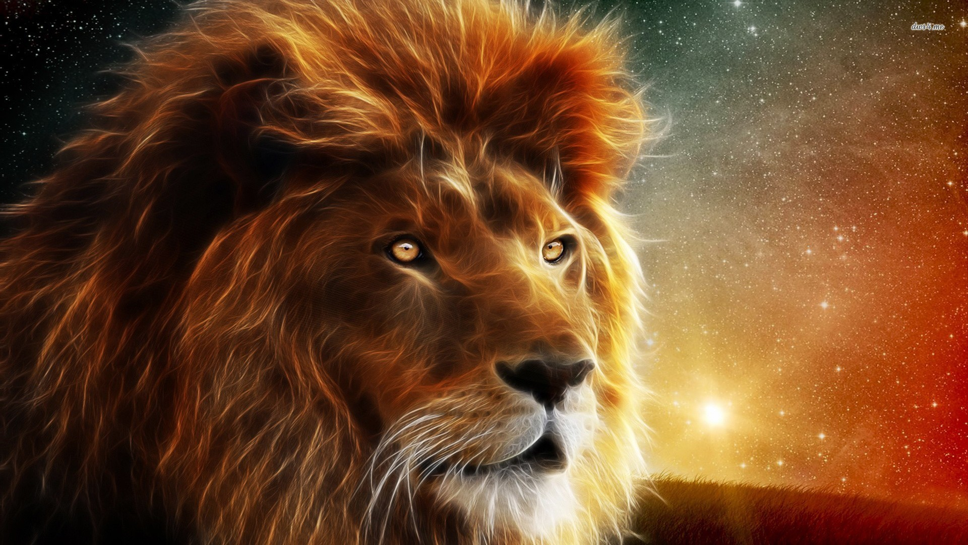 Res: 1920x1080, ... Glowing lion wallpaper ...